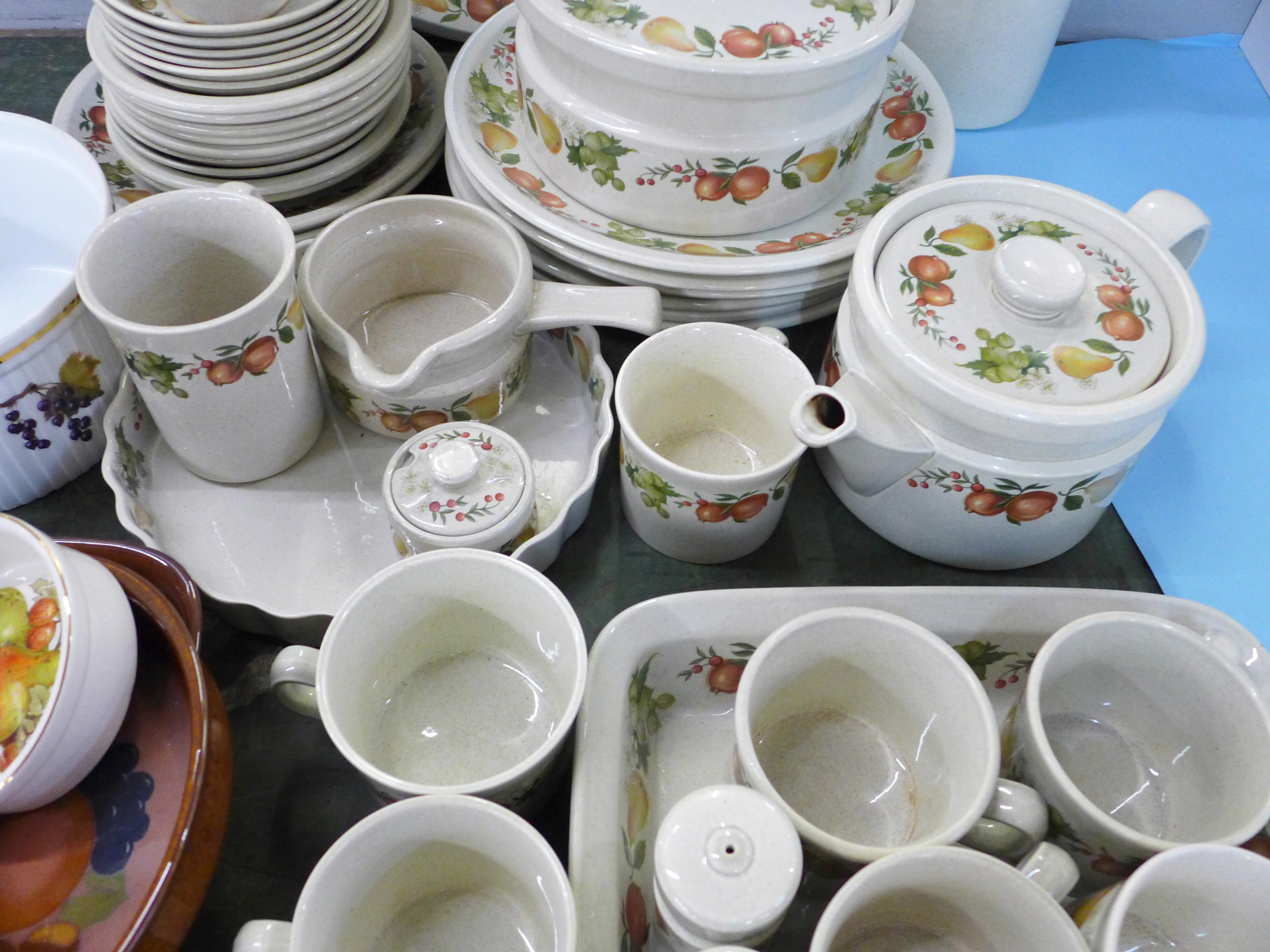 Mixed teawares and tablewares, Wedgwood Quince, Royal Worcester Evesham souffle dish, Denby Autumn - Image 3 of 5