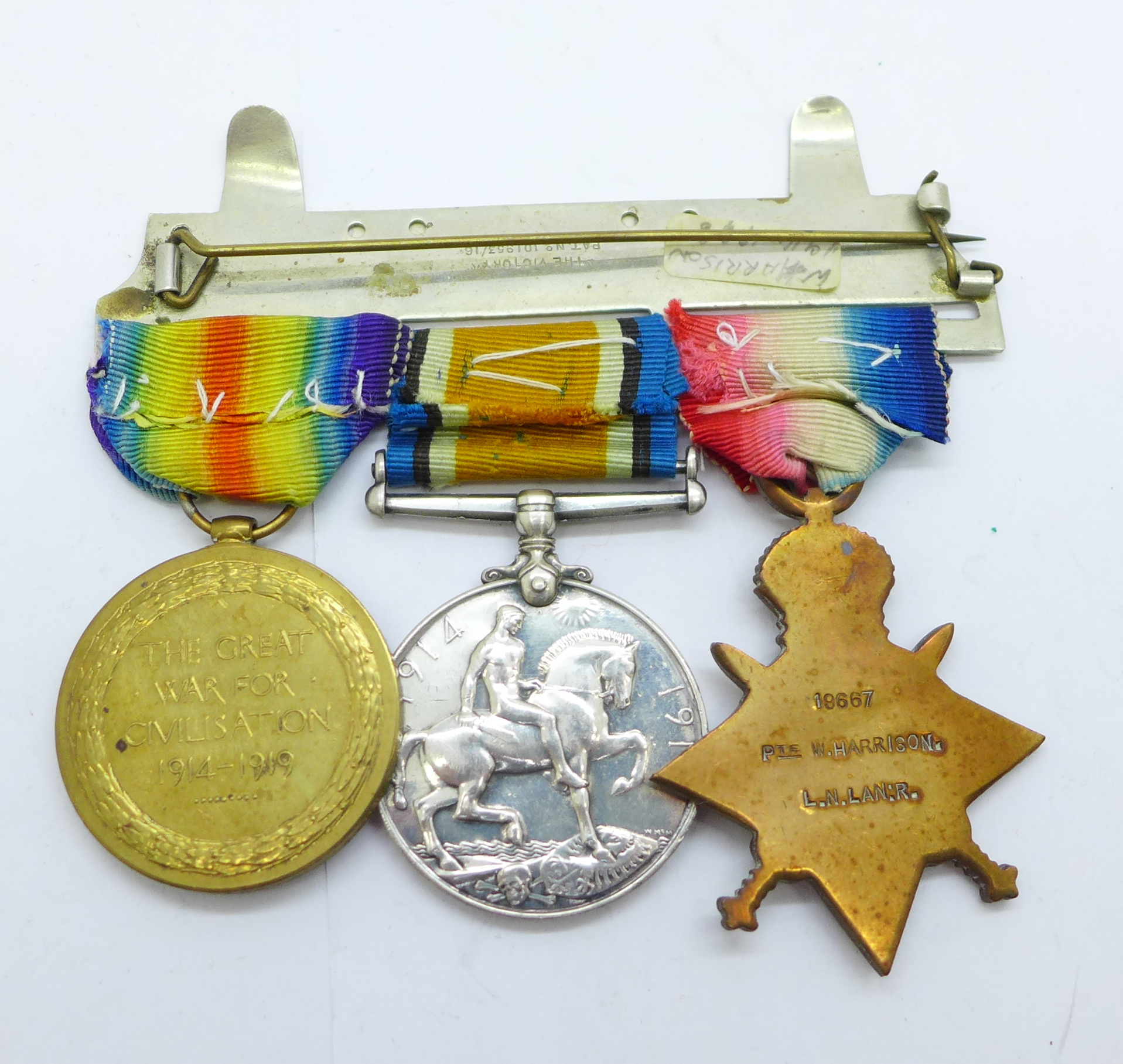 A trio of WWI medals to 19667 Pte. W. Harrison. L. N. Lan. R. - Image 2 of 3