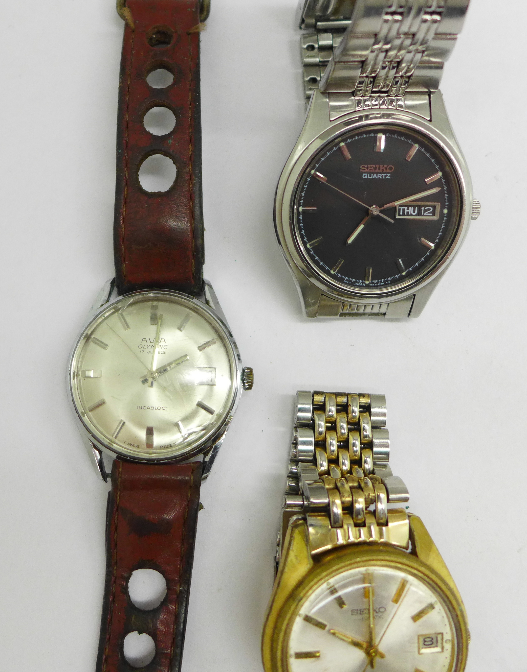 Three wristwatches including Seiko automatic and quartz, and Avia Olympic - Image 2 of 7