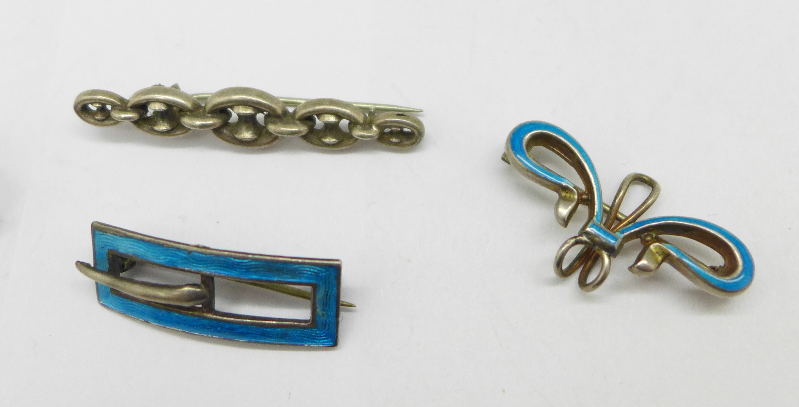 A silver and enamel Charles Horner brooch in the form of a buckle, Chester 1912, a silver and - Image 2 of 3