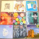 Fifty-five LP records, Rod Stewart, Cat Stevens, Shadows, Moody Blues, 10cc, Chicago, Al Stewart,