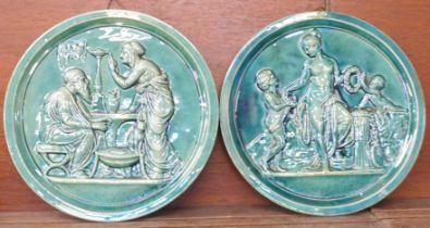 A pair of Scottish Dunmore majolica plaques, 26cm