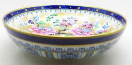 A Losol ware Shanghai blue bowl, rim possibly restored