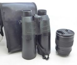 A Toking 28-85mm 1:4 camera lens and a pair of Jessops 12x50 binolcuars