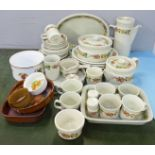Mixed teawares and tablewares, Wedgwood Quince, Royal Worcester Evesham souffle dish, Denby Autumn