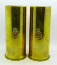 Two RAF squadron brass shell cases, 18cm
