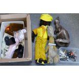 A felt doll, a soft toy rabbit, lead figures, etc.