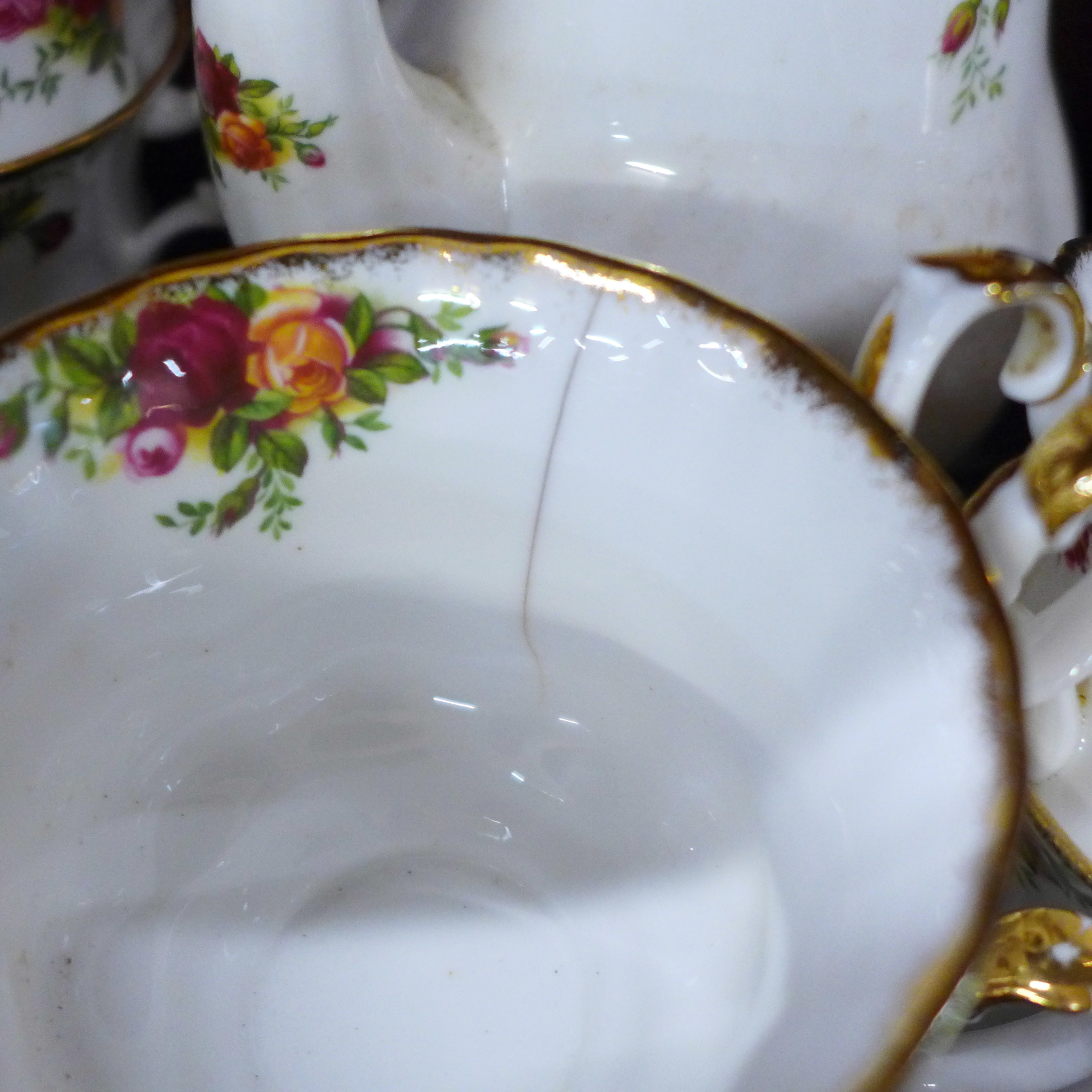 Royal Albert Old Country Roses china:- coffee pot, thirteen cups, fourteen saucers, eighteen side - Image 4 of 7
