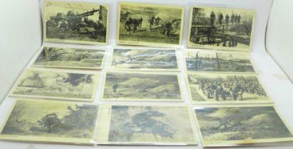 Twelve unused German WWII postcards, Wehrmacht-Bildserie