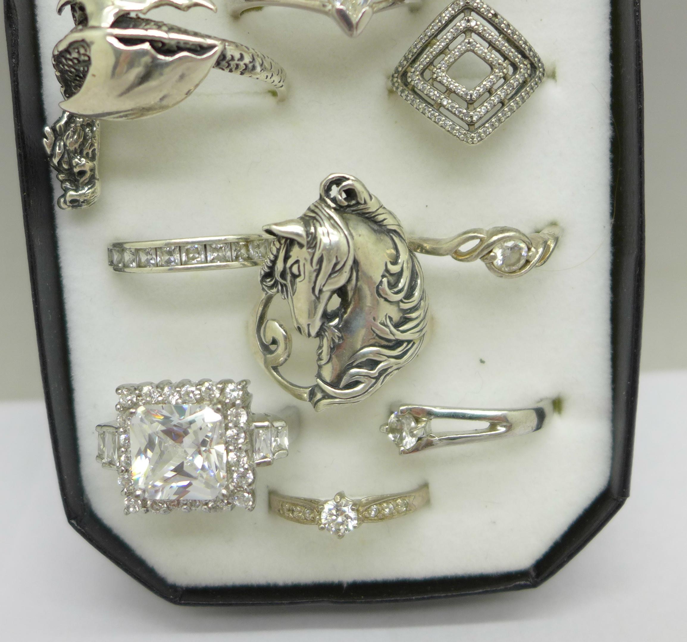 Twelve silver rings - Image 2 of 3