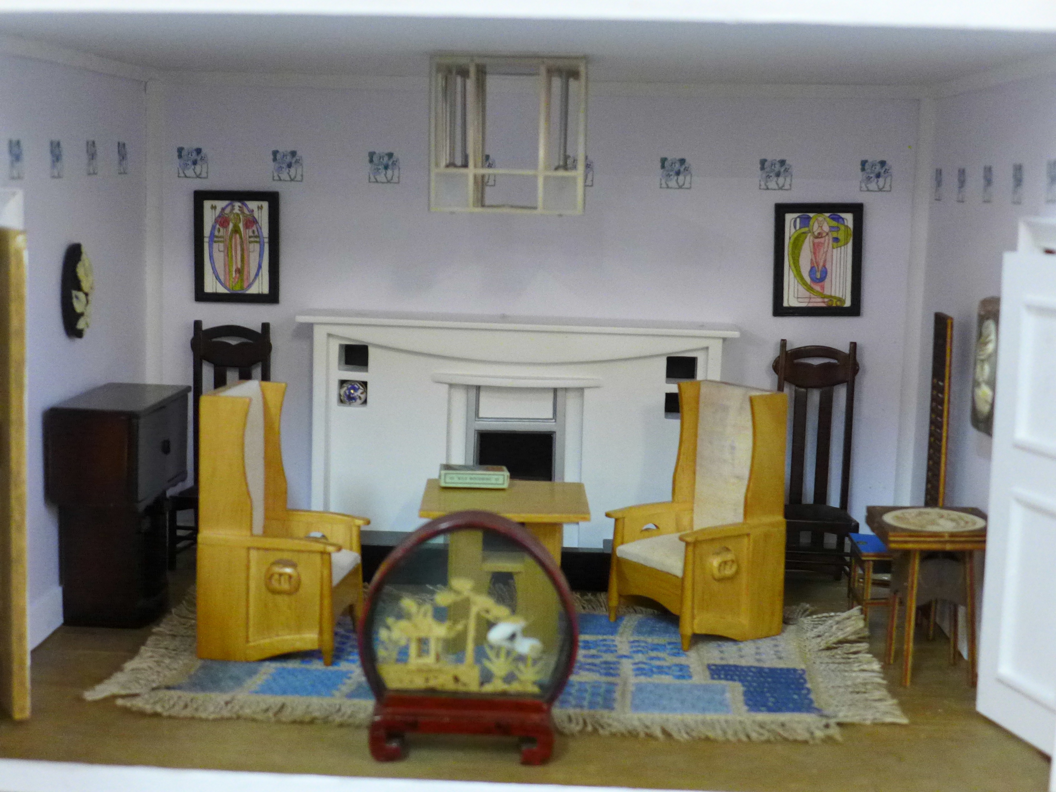 A Dolls House Emporiun Charles Rennie Makintosh-style Scottish House and Furniture. Assembled from a - Image 9 of 18