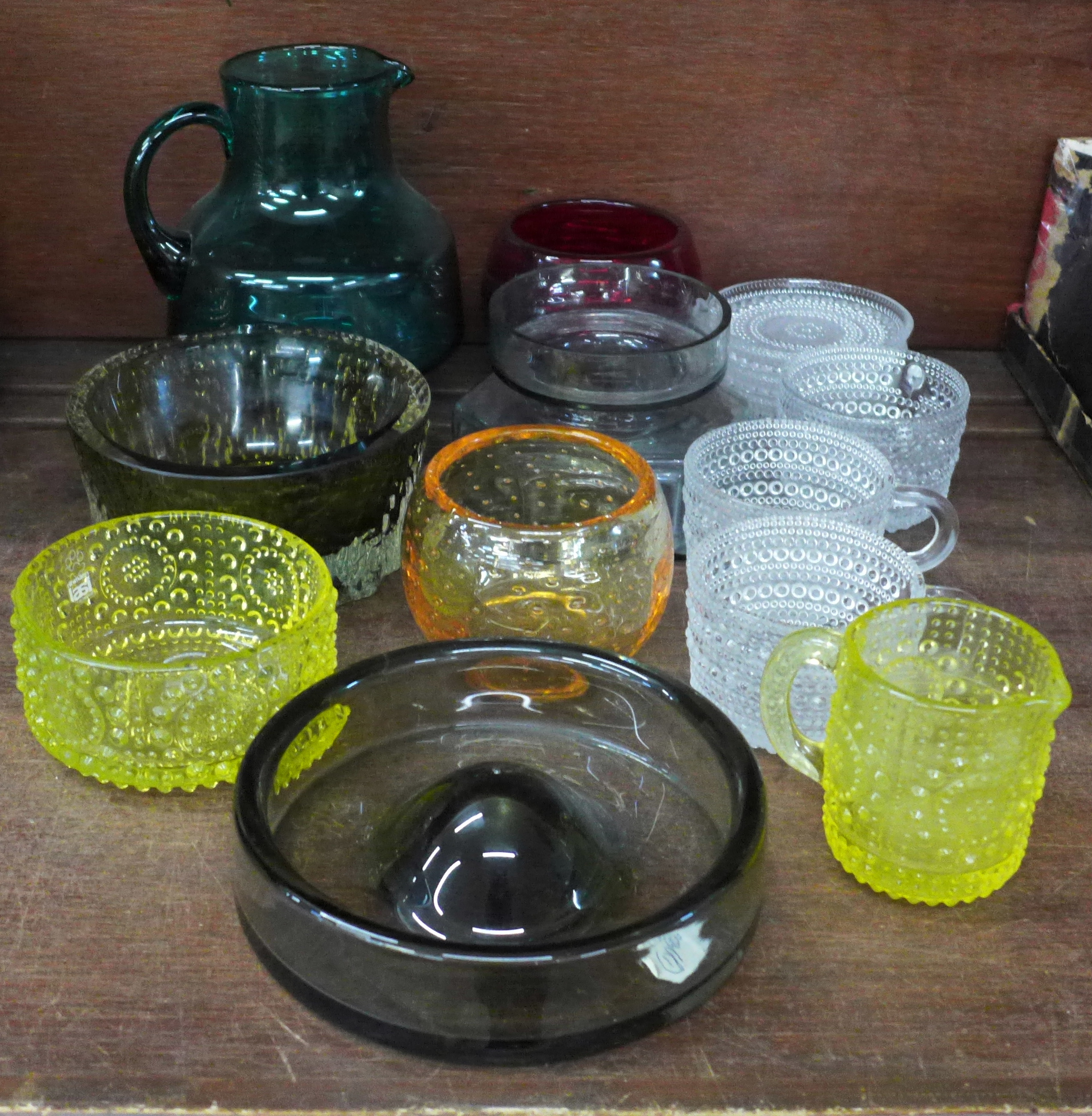 A collection of mid 20th century glass including Whitefriars and Holmegaard