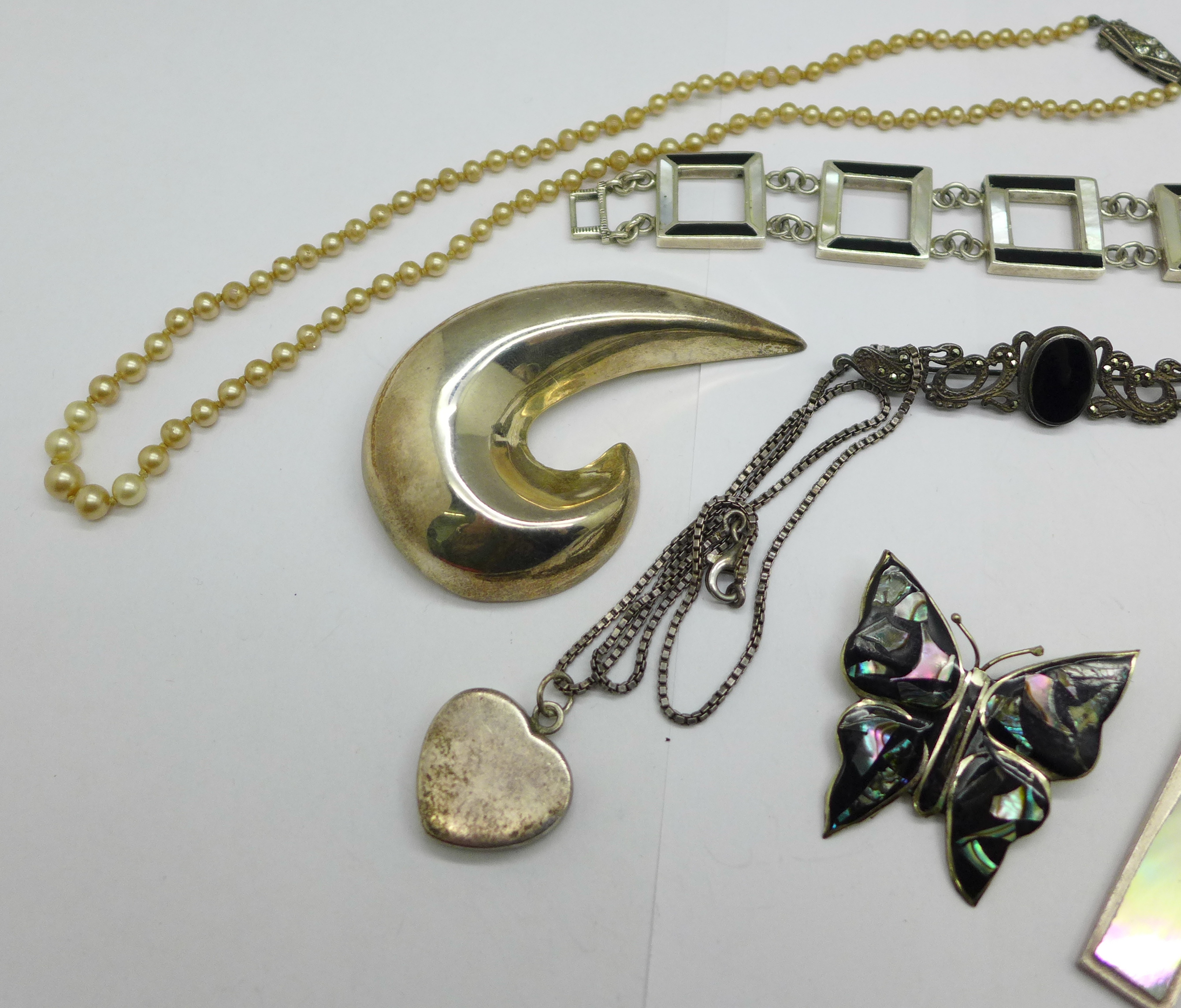Three silver brooches, a silver bracelet, three pendants and chains, a necklace lacking fastener and - Image 2 of 3