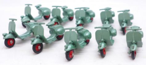 Ten Benbros Mighty Midgets 15 Vespa Scooters, metallic green with red hubs