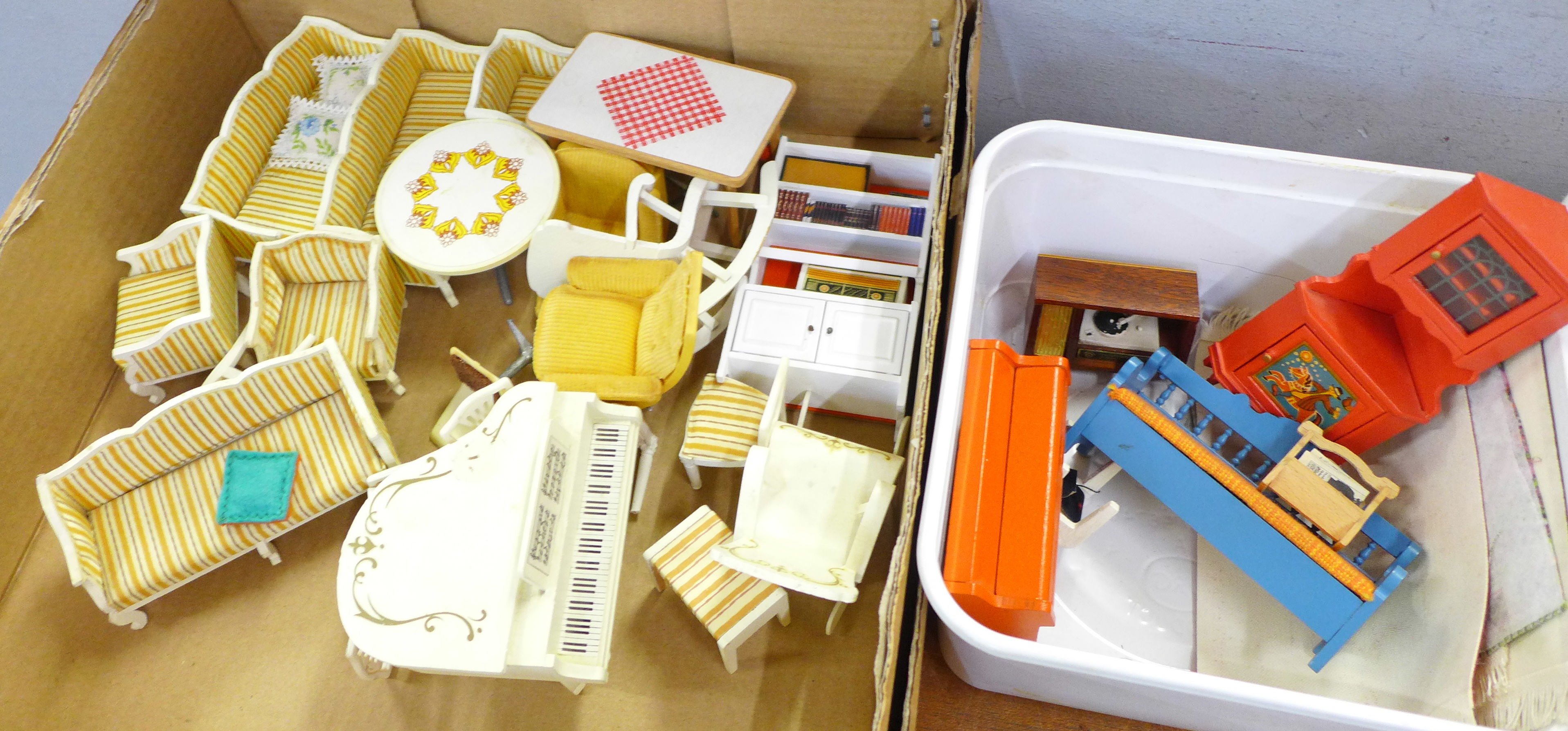 A collection of Lundby doll's house furniture