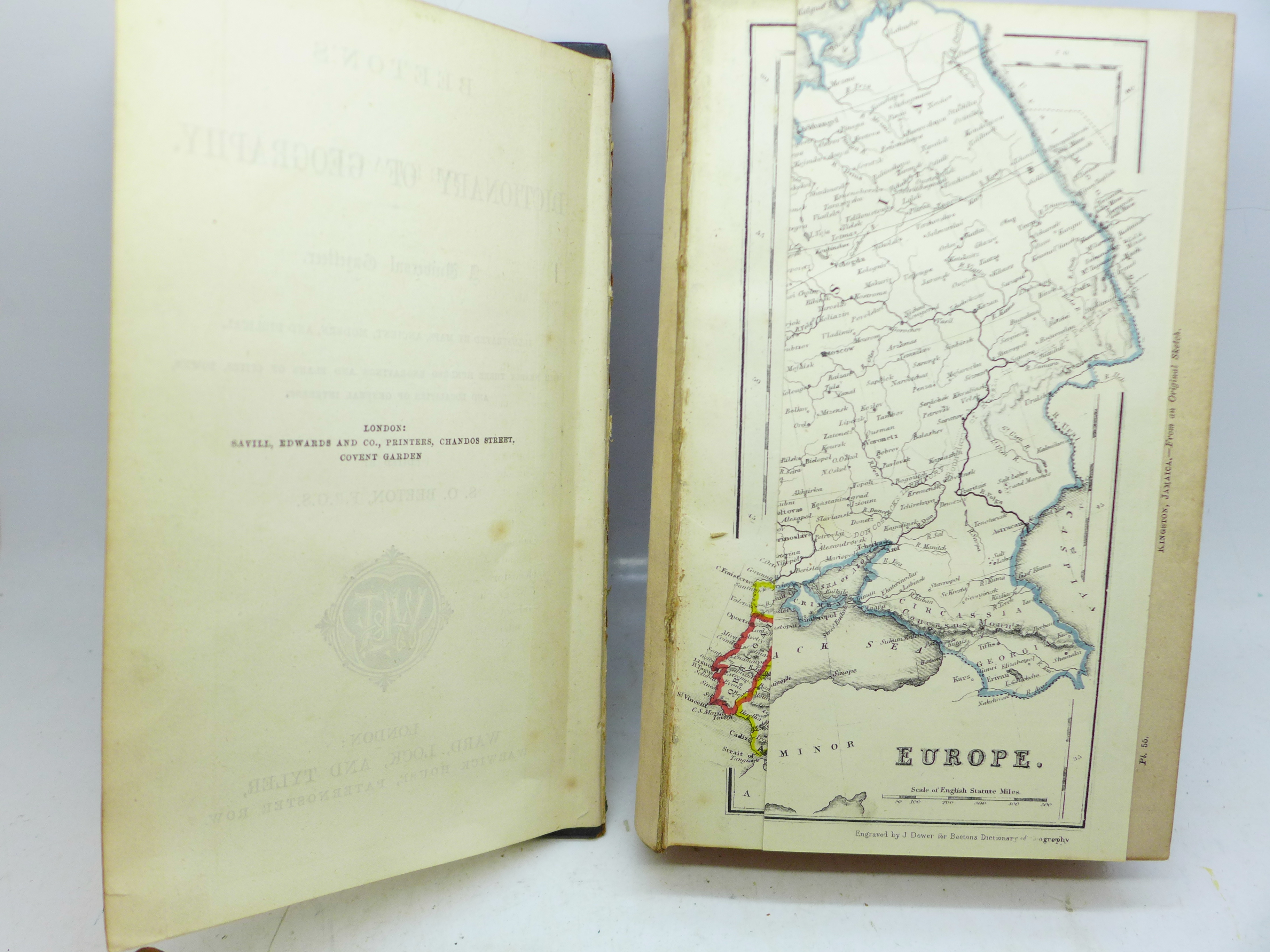 Two volumes, Beeton's Dictionary of Geography, printed by Savill, Edwards & Co., circa 1869, with - Image 4 of 8