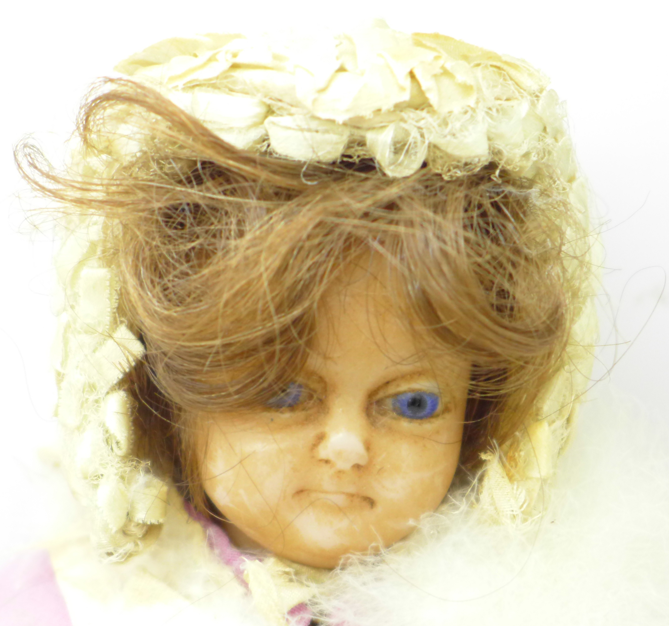A 19th Century doll with wax head and limbs with bonnet - Image 2 of 3