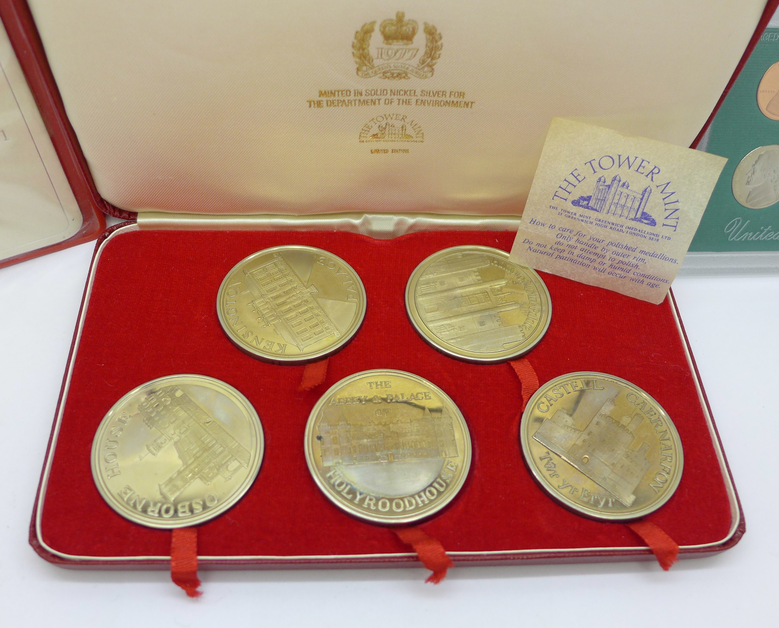 A Tower Mint limited edition nickel silver 5-coin set, cased, a 1996 United States mint proof set, - Image 3 of 5