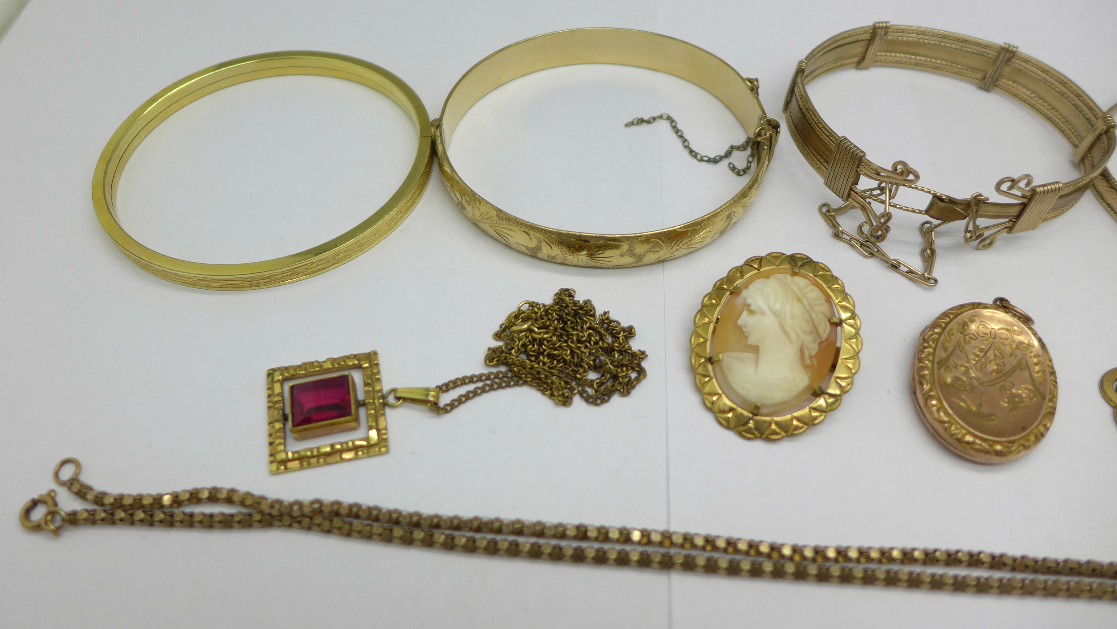 Plated jewellery including five bangles and a 9ct back & front locket - Image 2 of 3