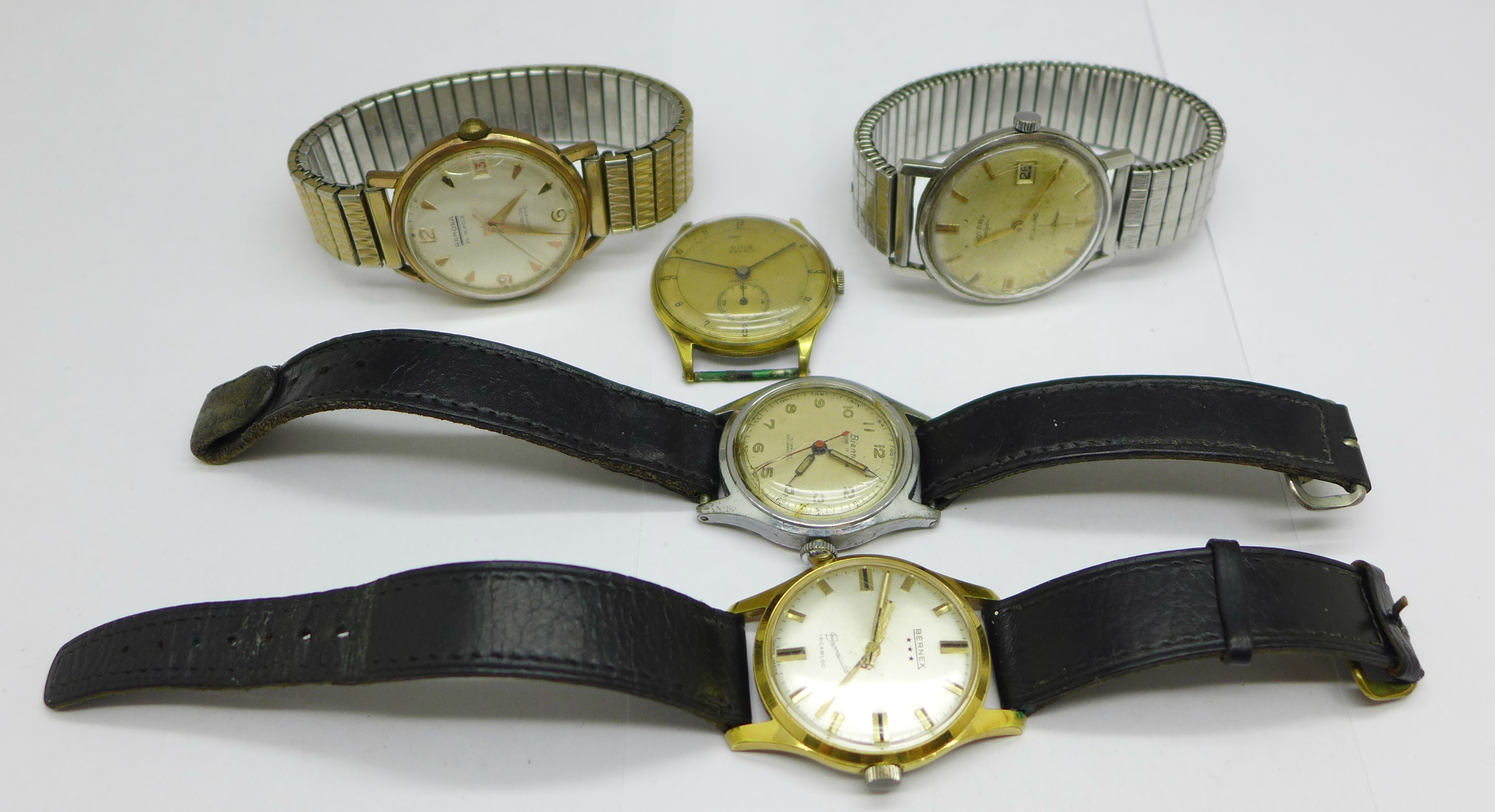 Five wristwatches including Bernex Barracuda and Ramona automatic