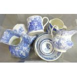 A box of blue and white transfer printed china, including 19th Century mug, jugs, bowls and a T.G.
