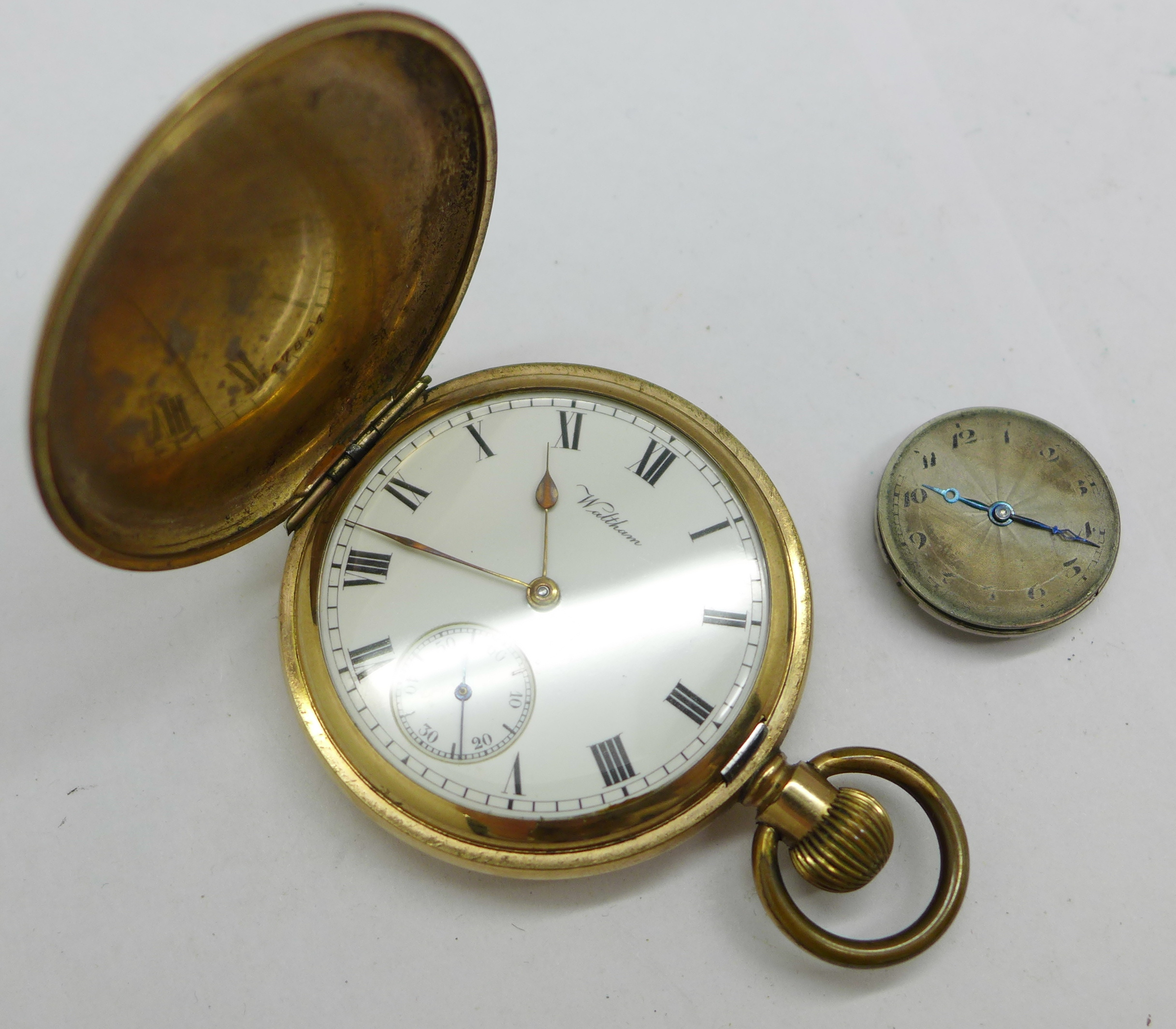 A Rolex wristwatch movement, 23mm, and a Waltham Giant gold plated full hunter pocket watch - Image 2 of 6