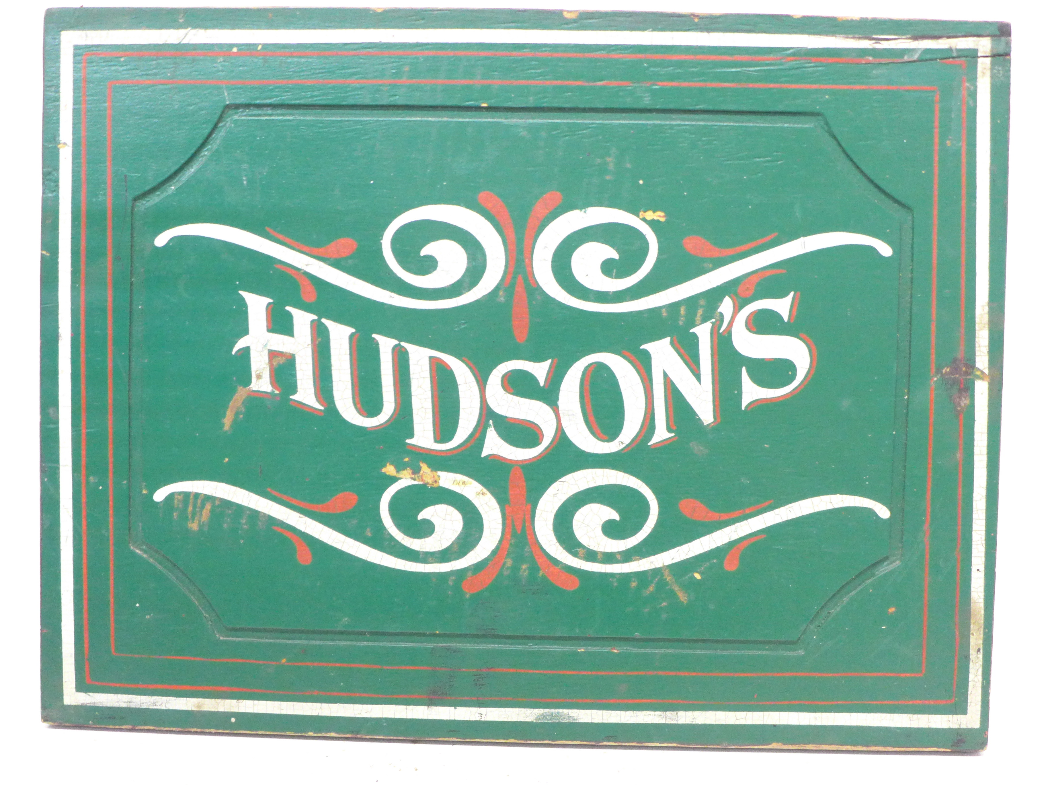 A painted wooden sign, 'Hudsons', from a canal barge, a/f, 42.5cm x 32.5cm