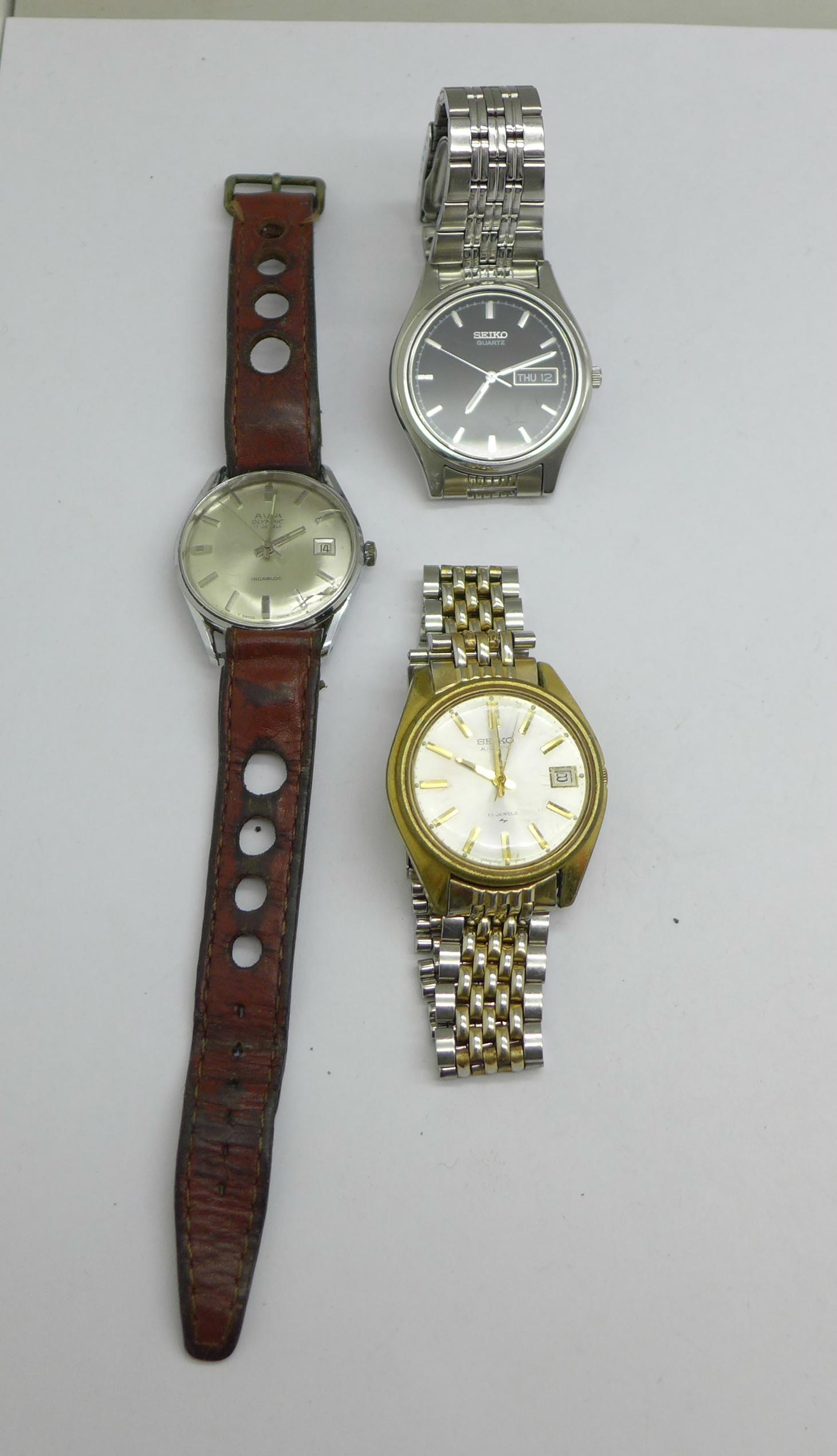 Three wristwatches including Seiko automatic and quartz, and Avia Olympic