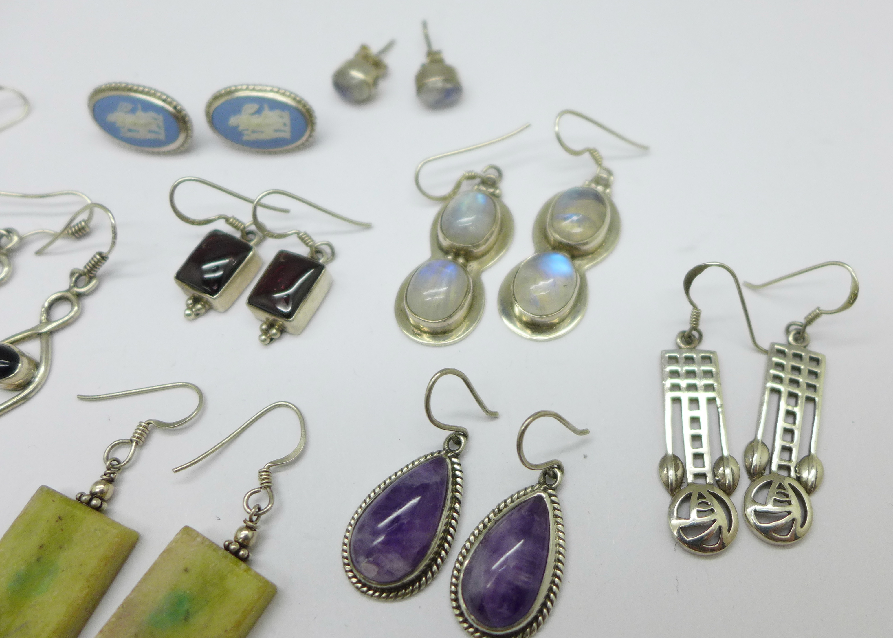 Fifteen pairs of silver and stone set earrings, total weight 60g - Image 4 of 4