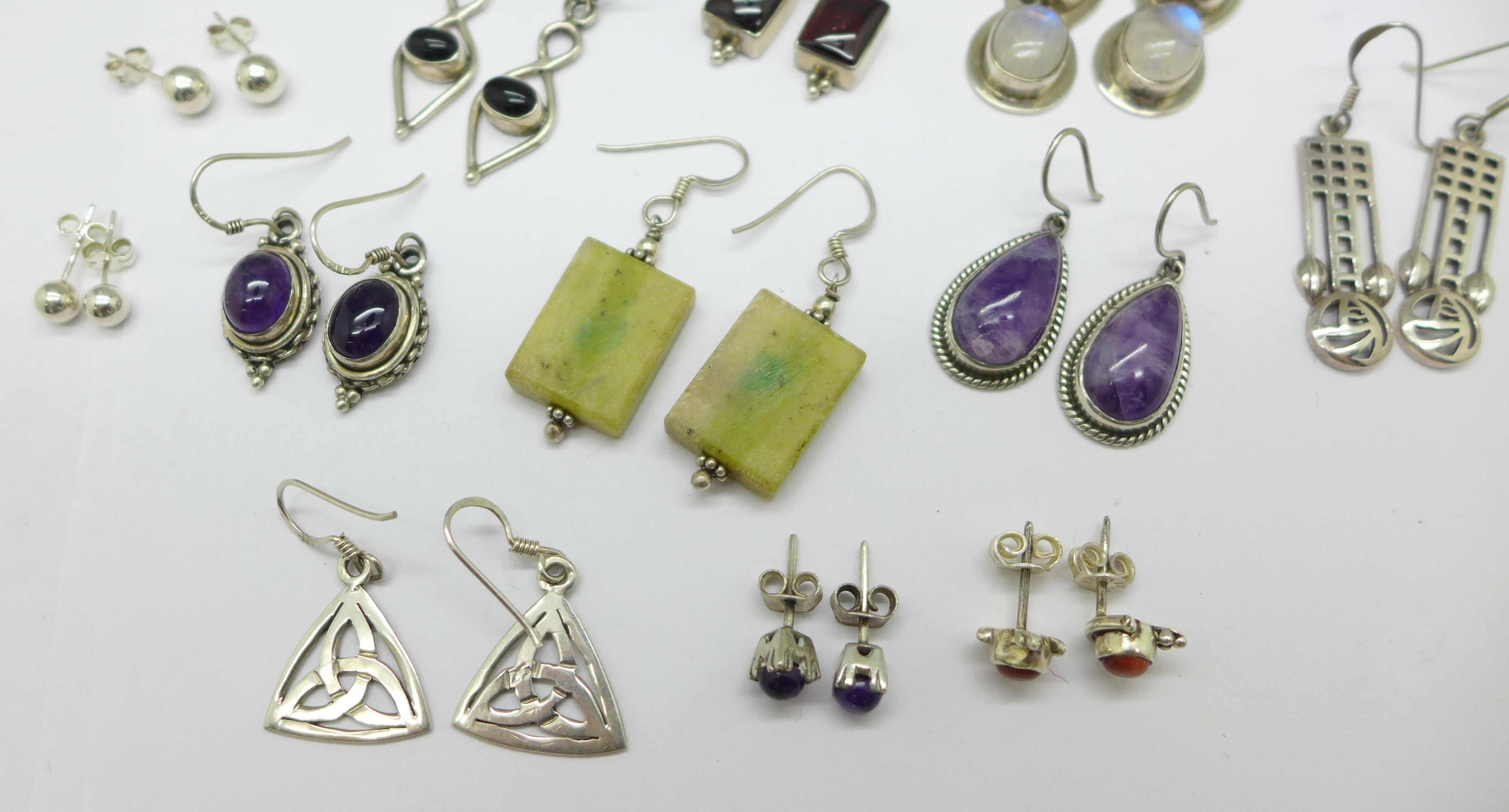 Fifteen pairs of silver and stone set earrings, total weight 60g - Image 3 of 4