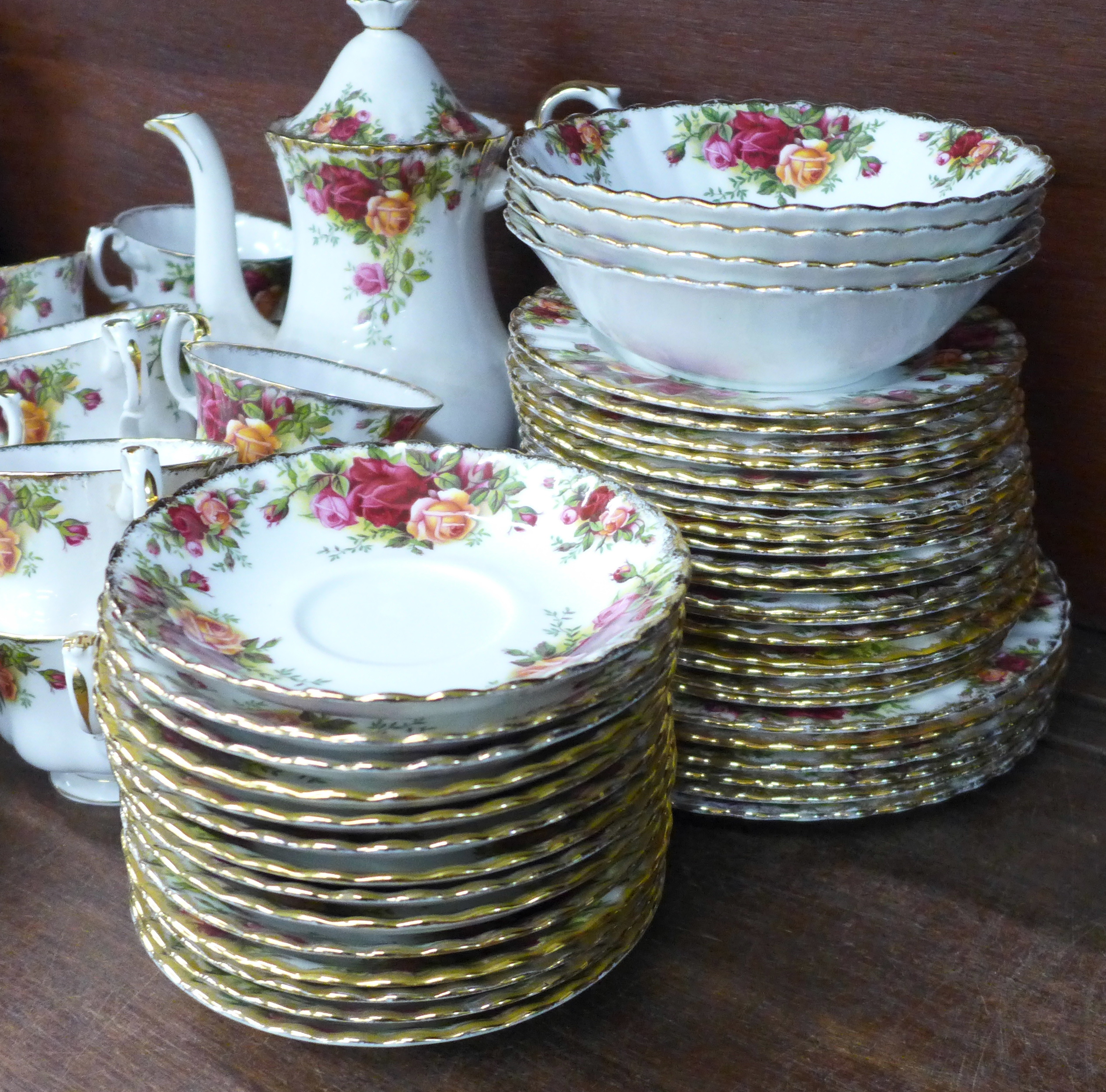 Royal Albert Old Country Roses china:- coffee pot, thirteen cups, fourteen saucers, eighteen side - Image 2 of 7