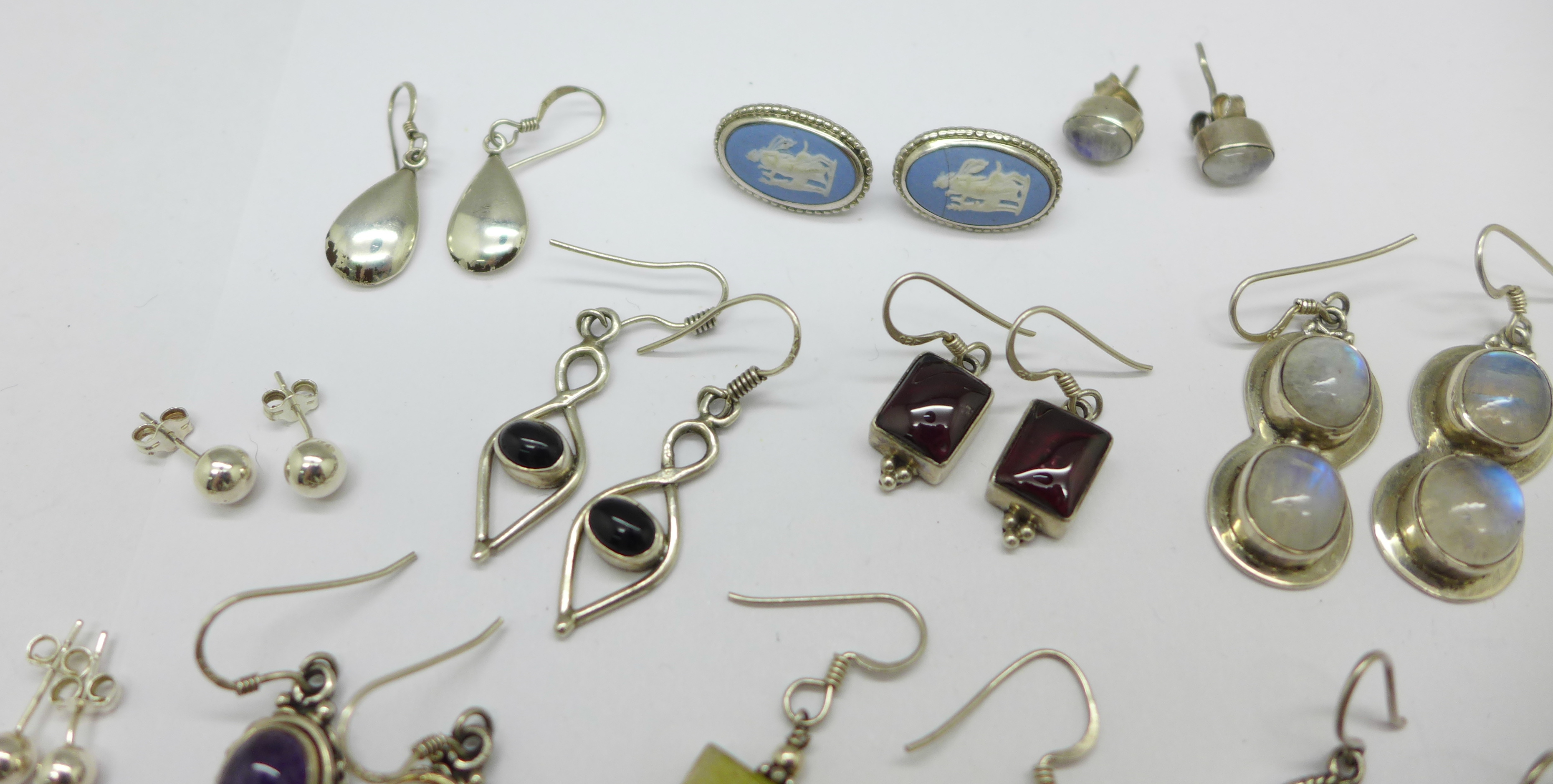 Fifteen pairs of silver and stone set earrings, total weight 60g - Image 2 of 4
