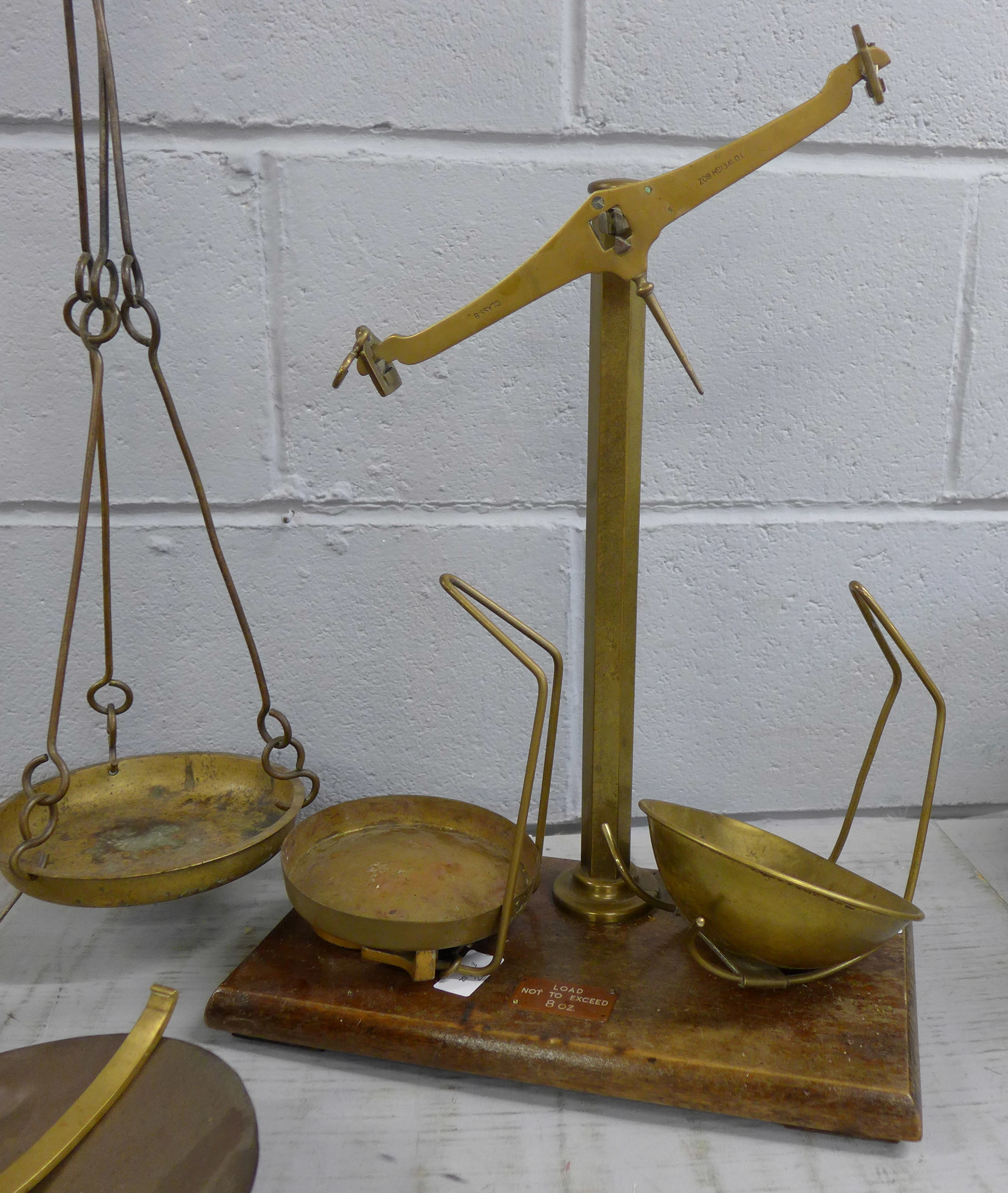 Class B brass and cast iron balance scales with spare arm and pan and another set **PLEASE NOTE THIS - Image 3 of 3