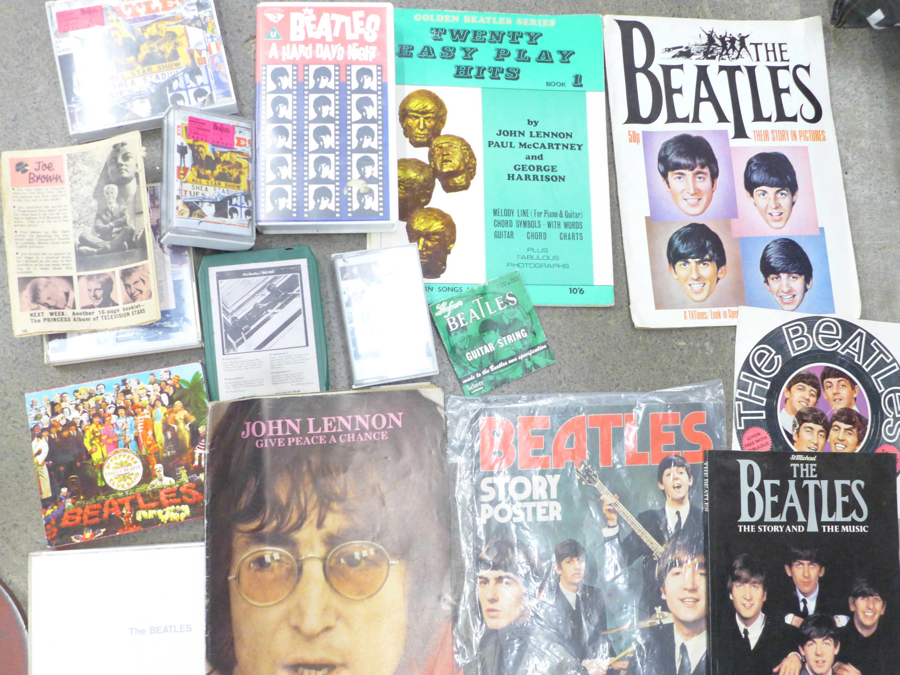 Beatles memorabilia including tea towel, postcards, promotional photograph, EasyPlay Hits songbooks, - Image 2 of 4