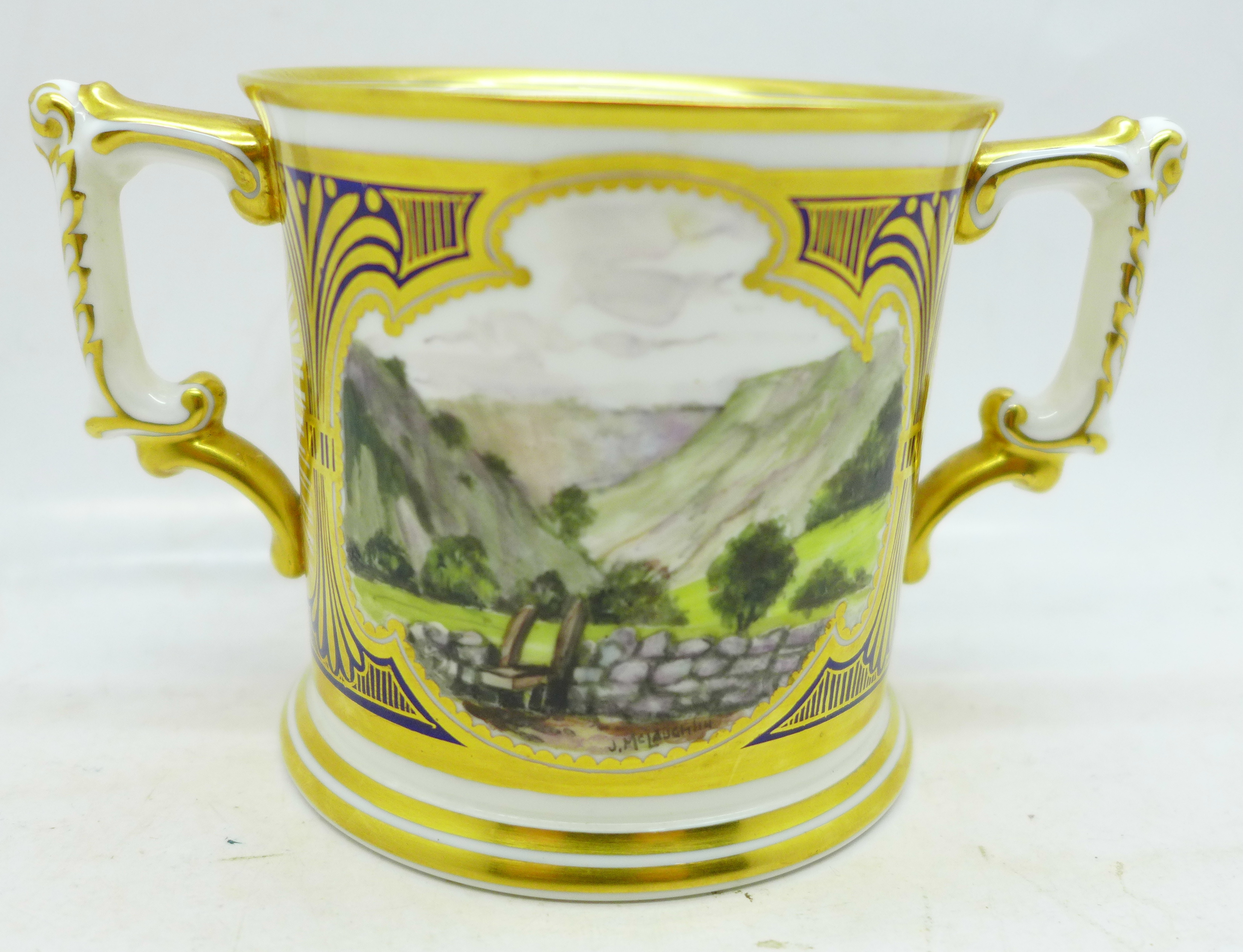 A small Royal Crown Derby Dovedale and Mill Dale mug, signed J McLaughlin - Image 2 of 4