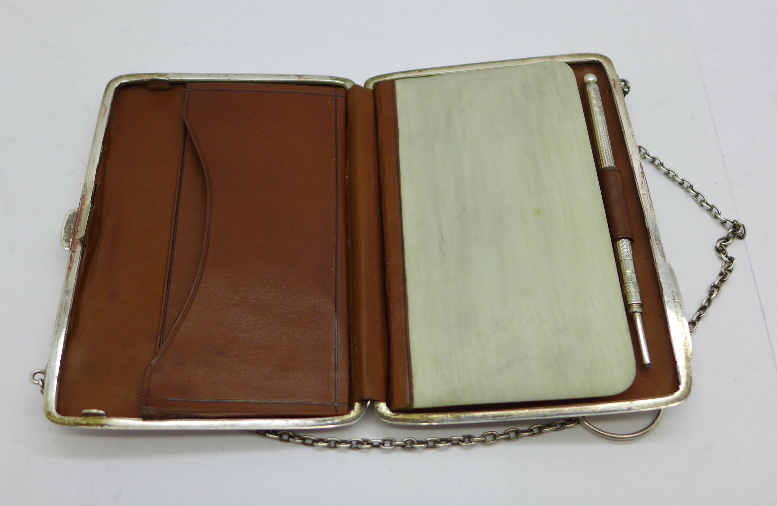 A late Victorian silver aide memoire purse, Joseph Gloster, Birmingham 1897, and a silver propelling - Image 4 of 4