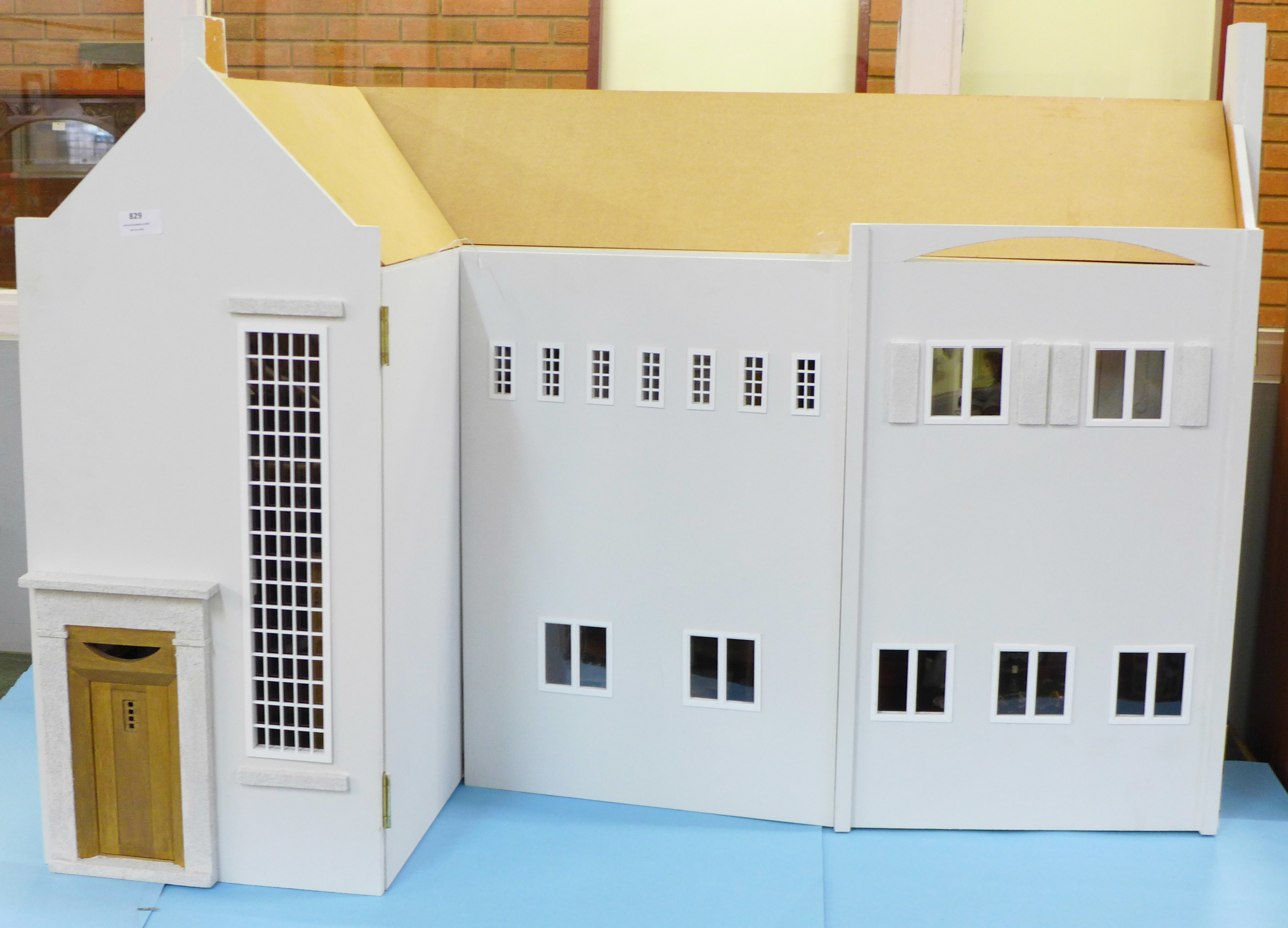 A Dolls House Emporiun Charles Rennie Makintosh-style Scottish House and Furniture. Assembled from a - Image 2 of 18