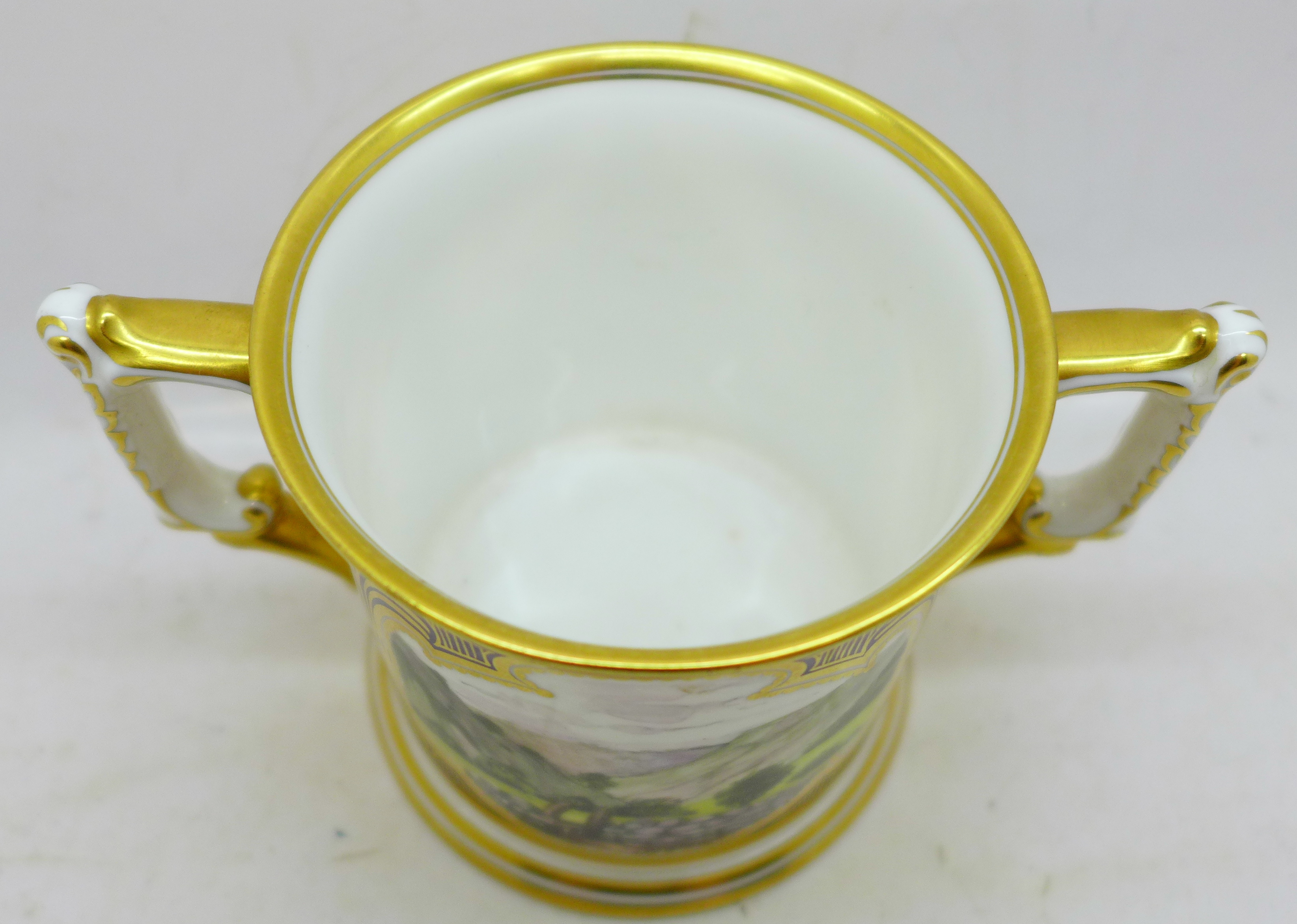 A small Royal Crown Derby Dovedale and Mill Dale mug, signed J McLaughlin - Image 3 of 4