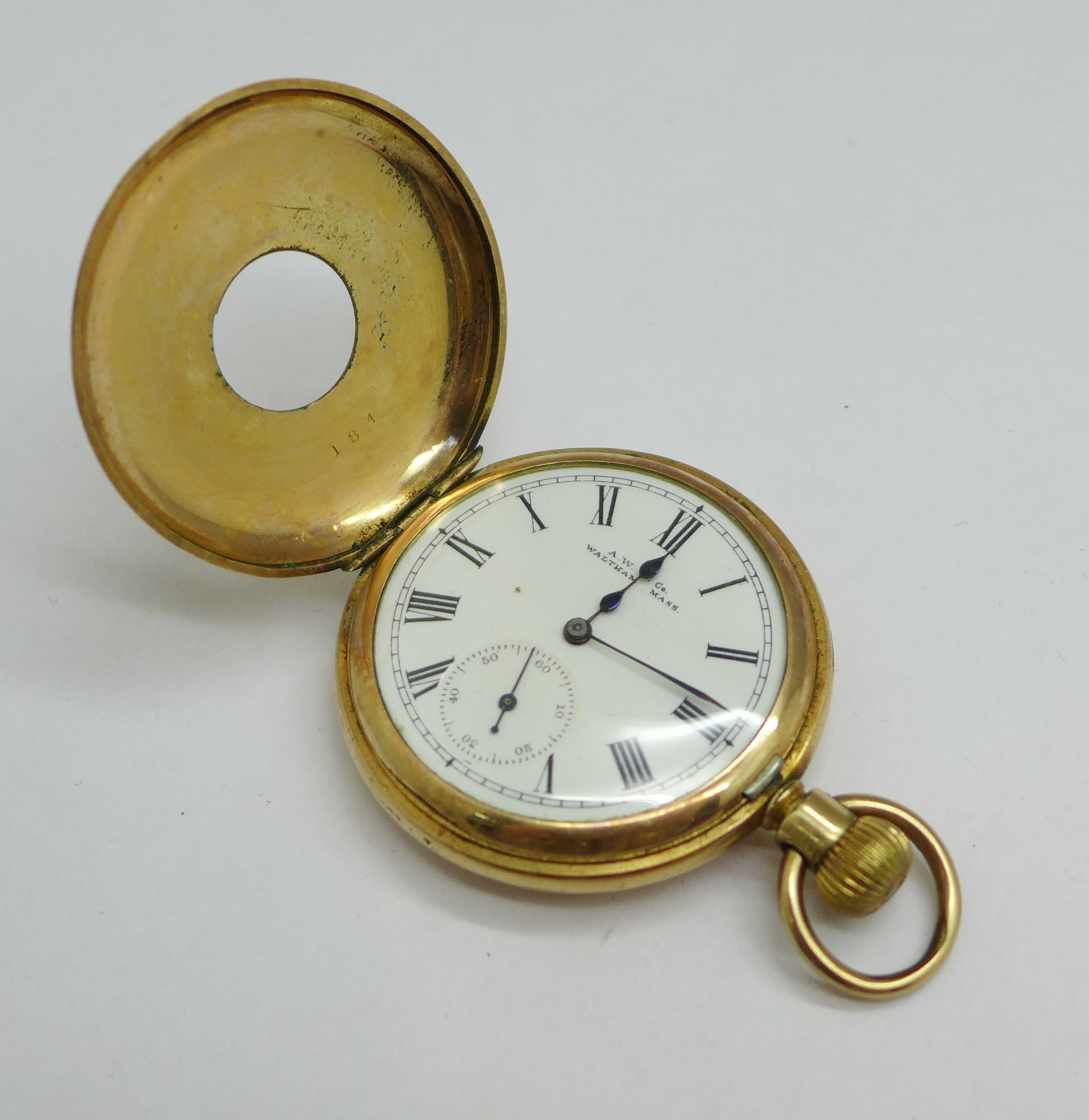 A Waltham gold plated half-hunter pocket watch, 4cm case - Image 3 of 4