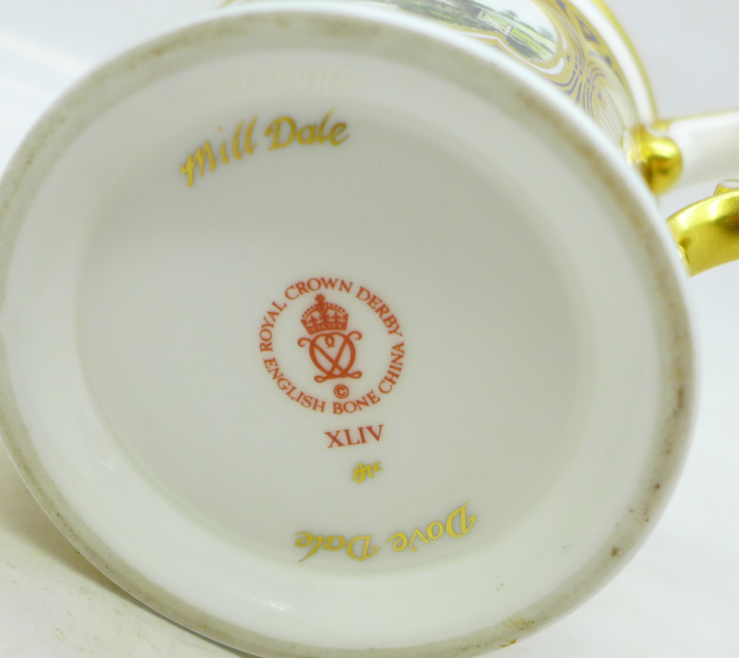 A small Royal Crown Derby Dovedale and Mill Dale mug, signed J McLaughlin - Image 4 of 4
