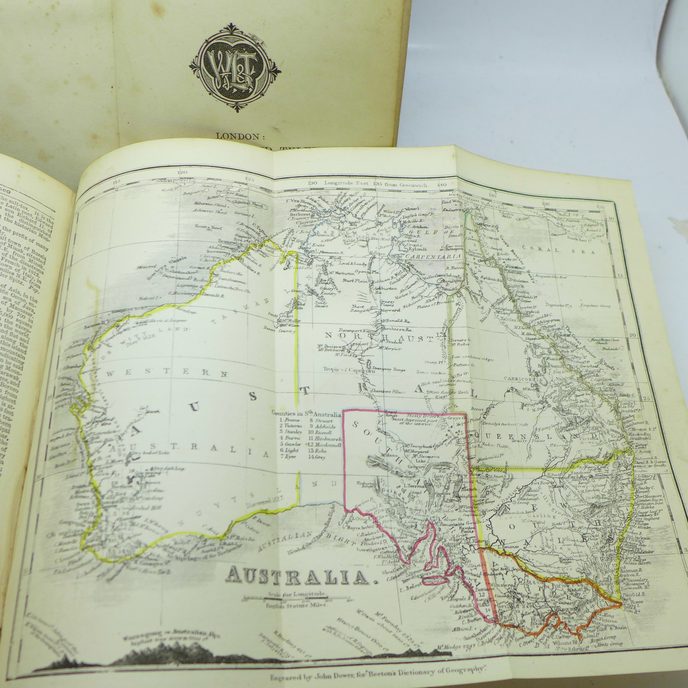 Two volumes, Beeton's Dictionary of Geography, printed by Savill, Edwards & Co., circa 1869, with - Image 2 of 8