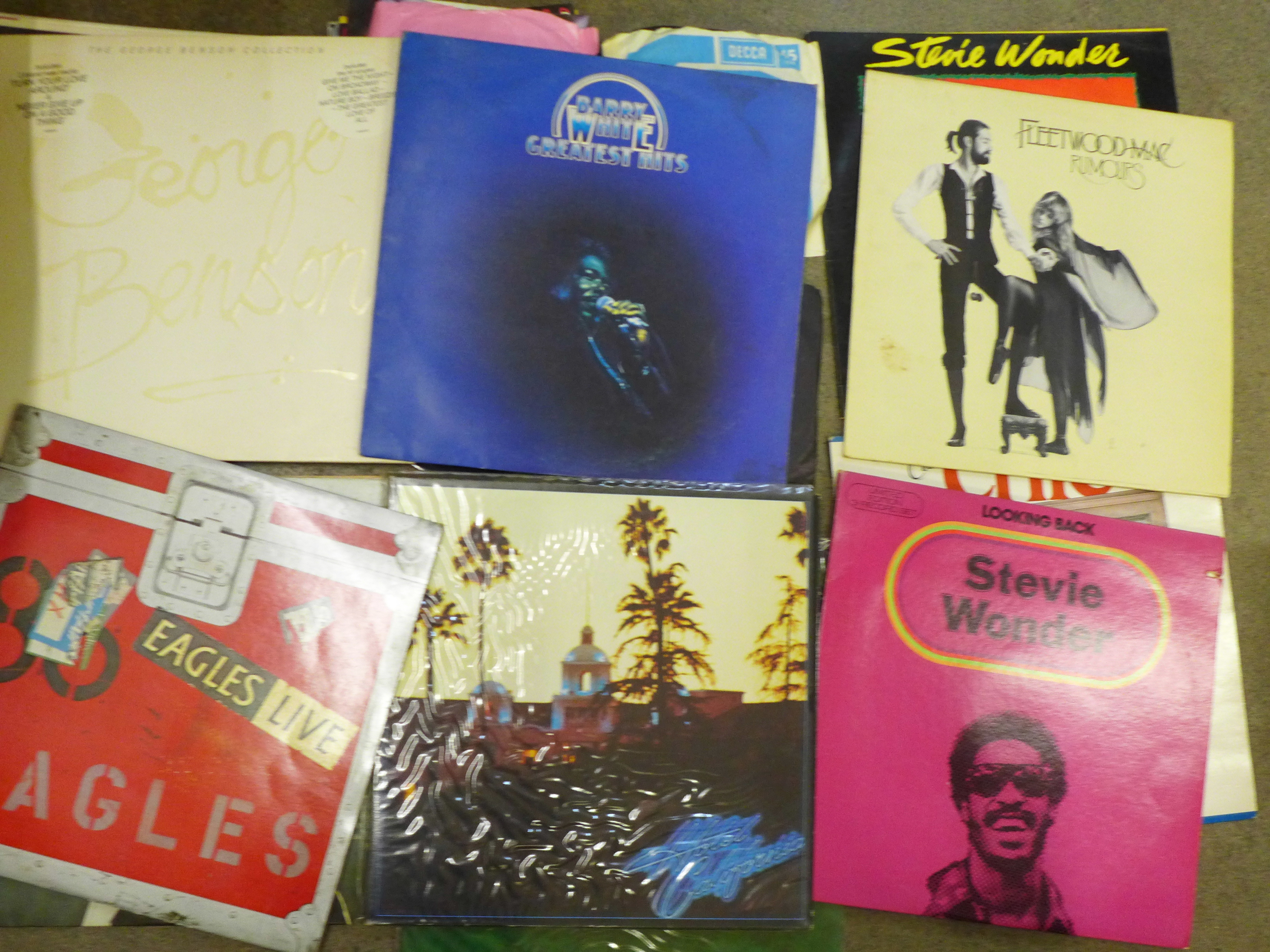 """A collection of LP records and 7"""" 45rpm singles including Bruce Springsteen, 10cc, Gladys Knight, - Image 2 of 4"""