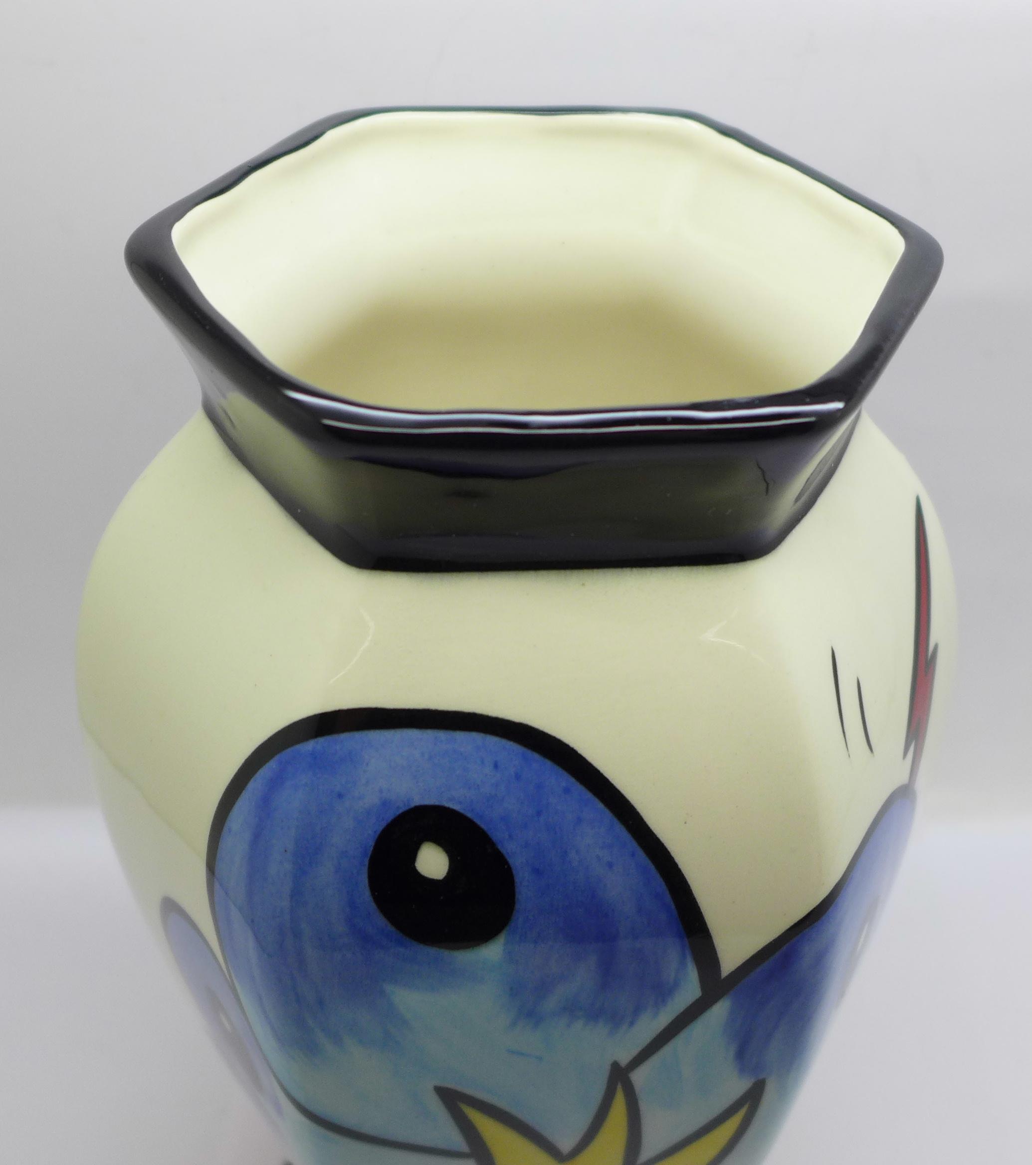 Lorna Bailey Pottery, hexagonal vase in the 'Bursley Way' design, 'Lorna Bailey' signature on the - Image 4 of 5
