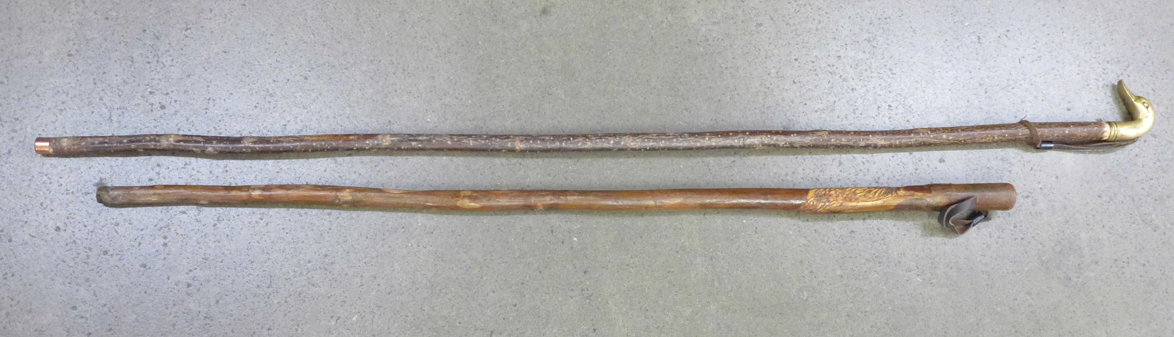 Two walking sticks, one carved, the other with brass duck's head top