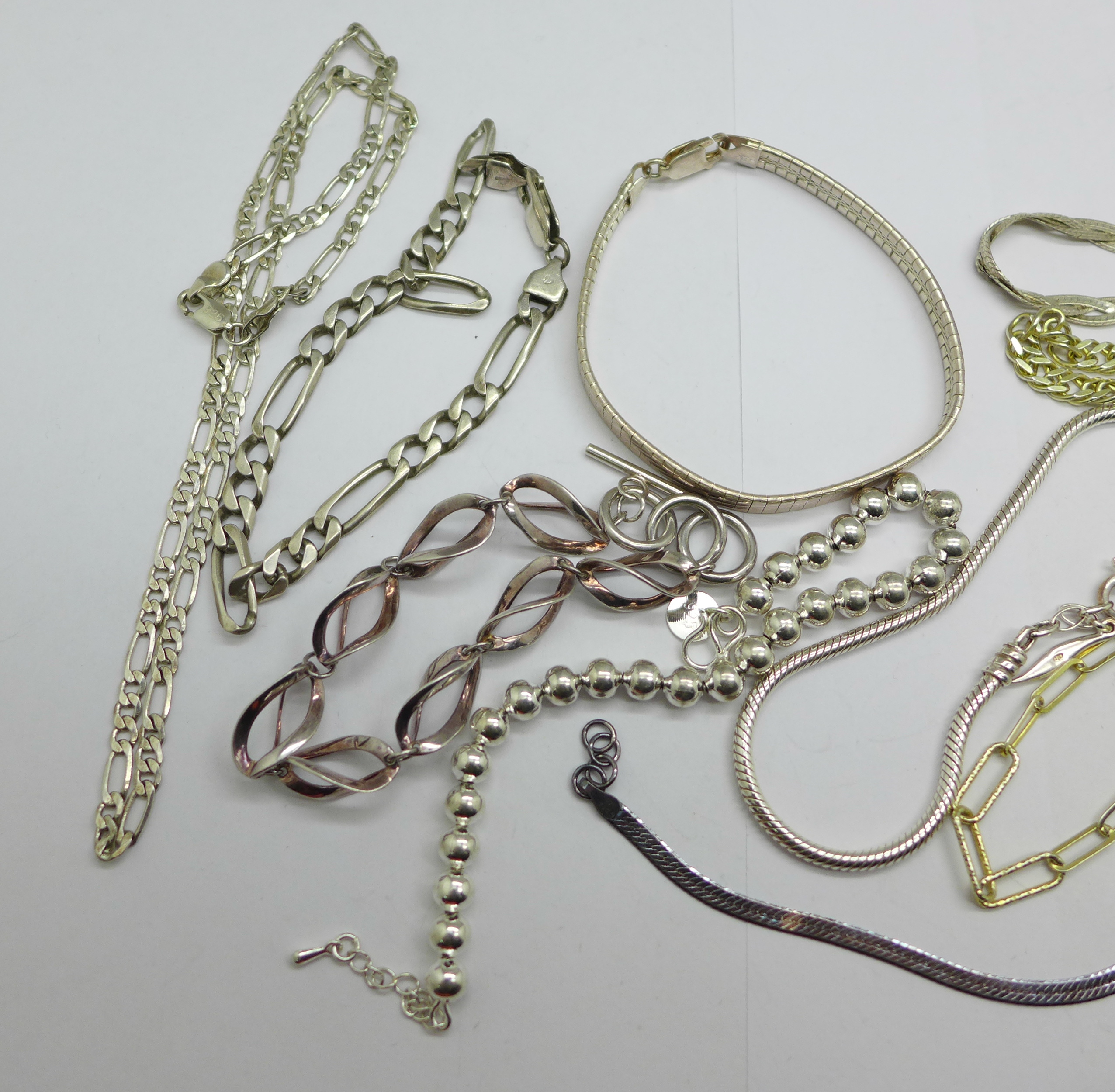 Ten silver bracelets and a silver necklace, 95g - Image 2 of 3