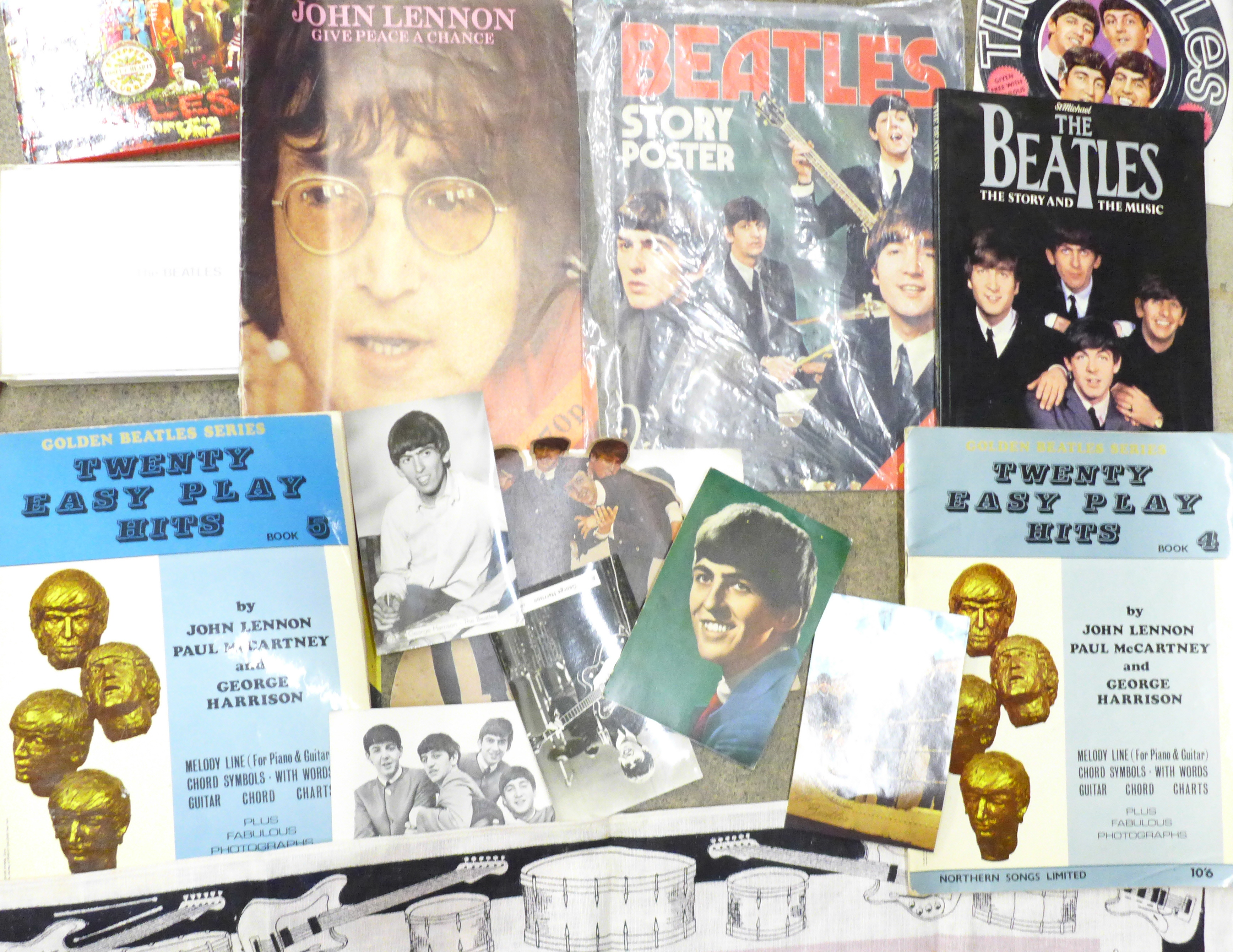 Beatles memorabilia including tea towel, postcards, promotional photograph, EasyPlay Hits songbooks, - Image 3 of 4