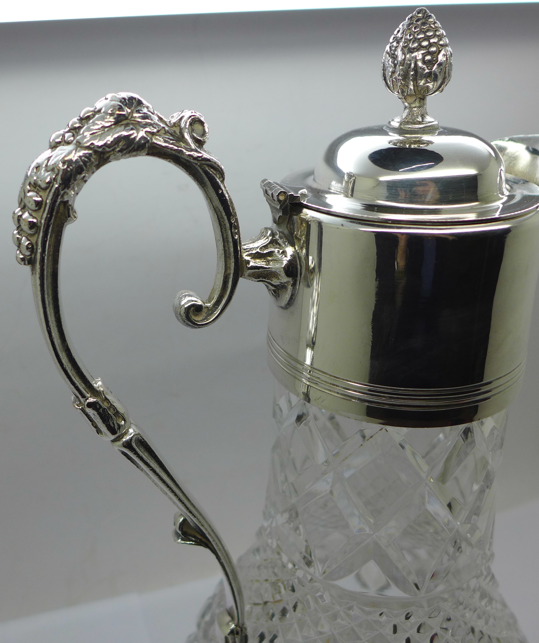 A white metal mounted glass claret jug, marked 999 on the handle and lid - Image 3 of 6