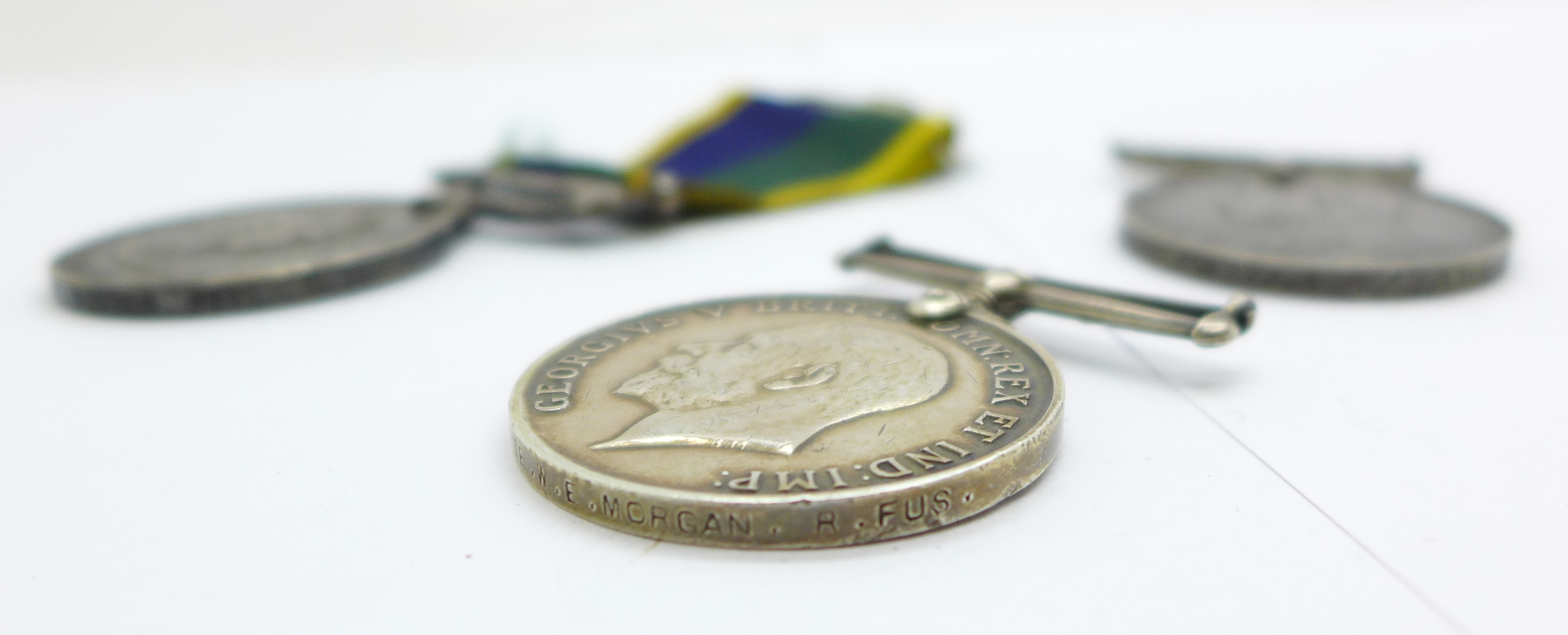 Three medals; WWI British War Medal to PS-8852 Pte W E Morgan R Fus, an Edward VII For Long - Image 5 of 5