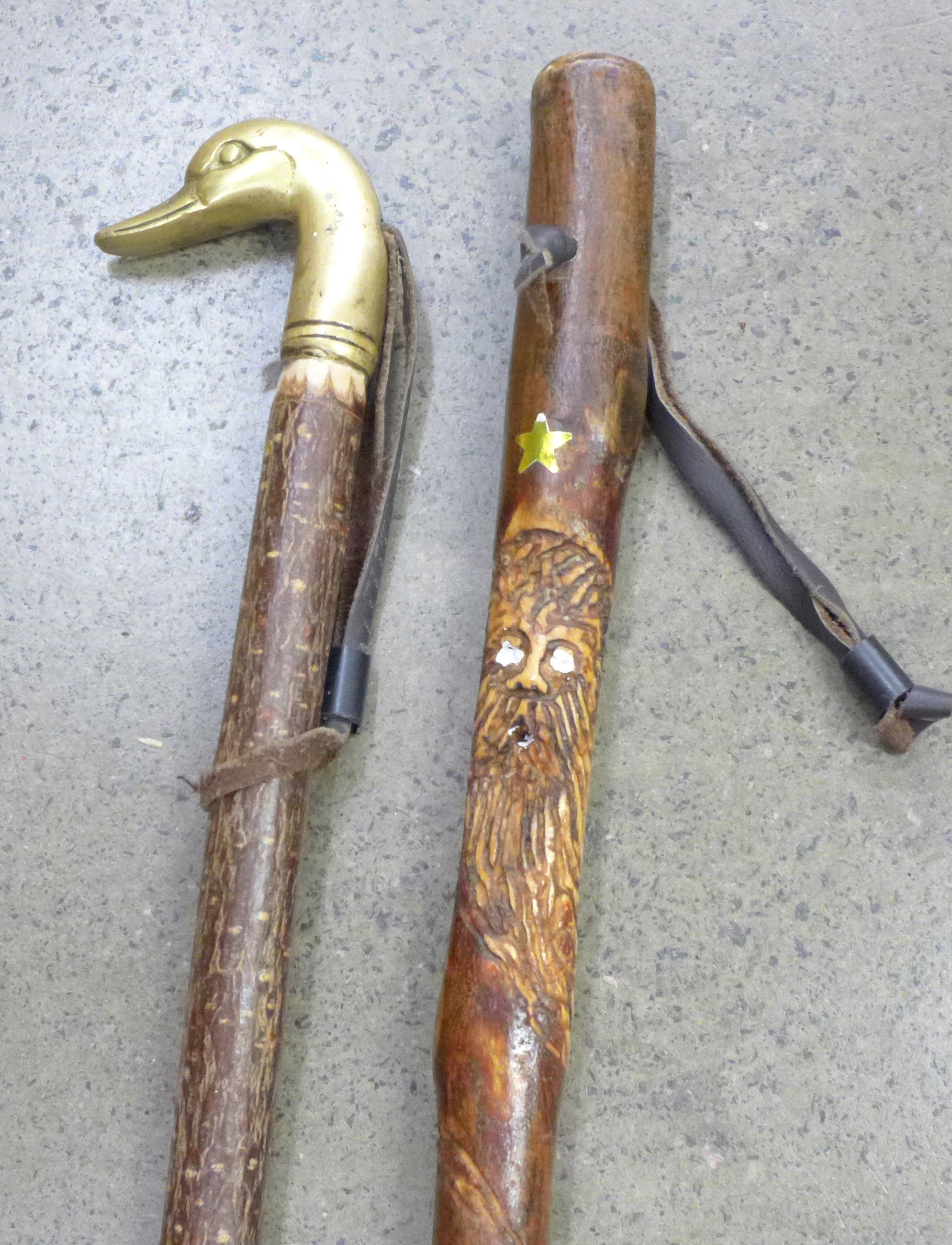 Two walking sticks, one carved, the other with brass duck's head top - Image 2 of 2