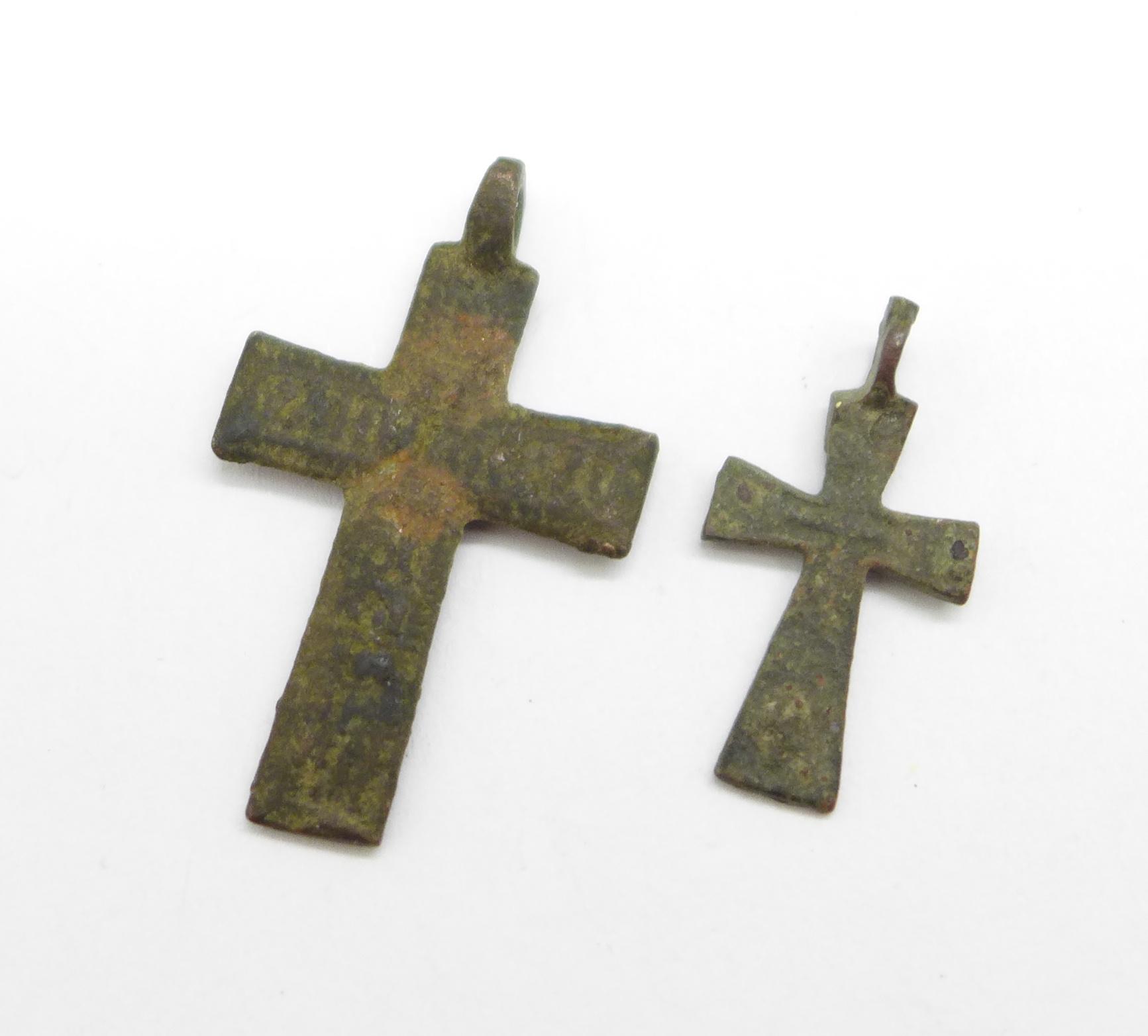 Two bronze Viking crosses, found in Russia